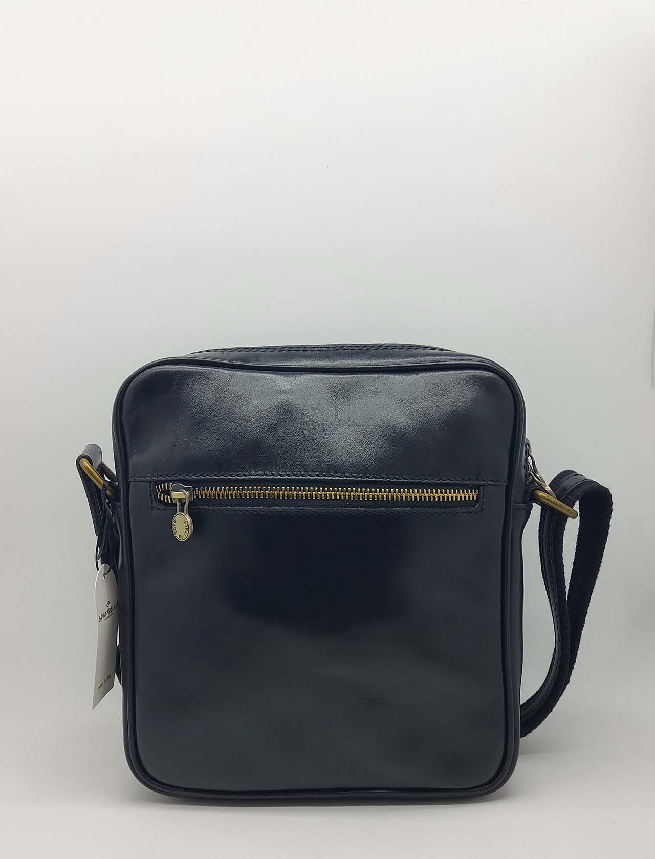 Men's Accessories Large Bag in Black Leather with Adjustable Shoulder Strap and Zip Spatarella | Bags and backpacks | PEU0202001