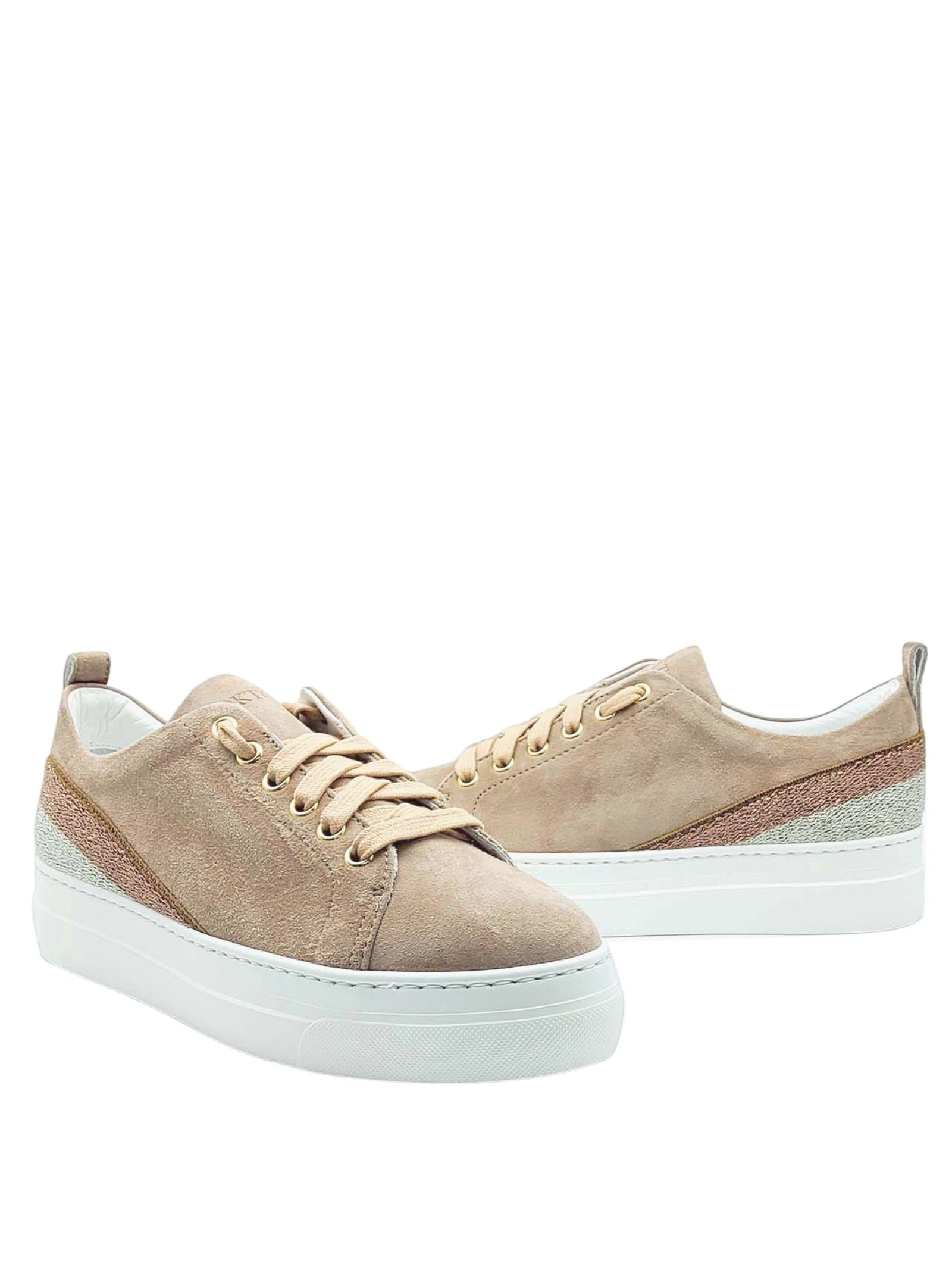 Women's Shoes Sneakers in Nude Suede with Laminated Band on the Heel and Rubber Wedge Bottom Stokton | Sneakers | 950-D300