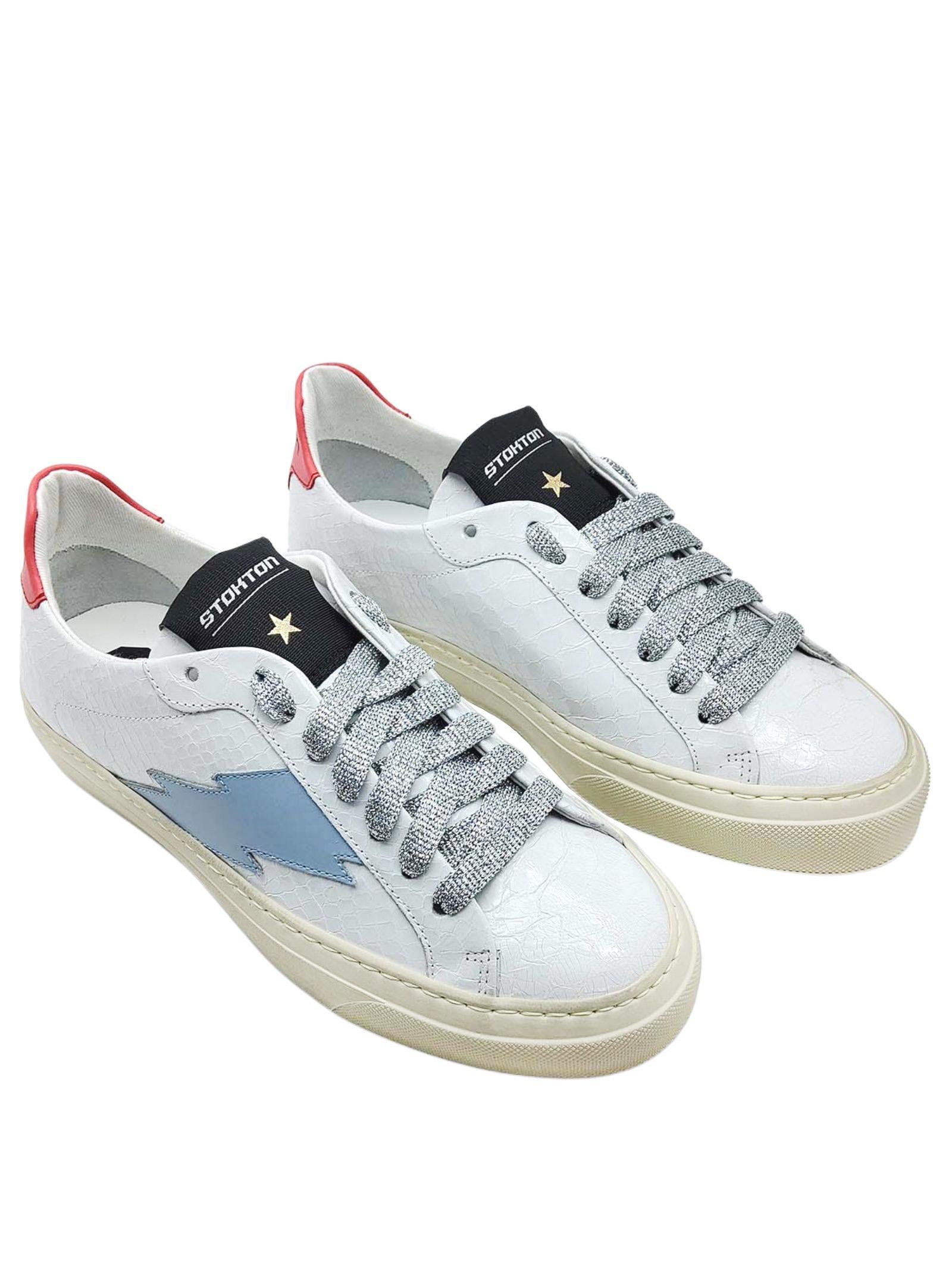 Calzature Donna Sneakers in Pelle Stampa Pitone Bianco Opaco con Logo Laterale e Fondo Vintage in Gomma Stokton   Sneakers   BLAZE-D100