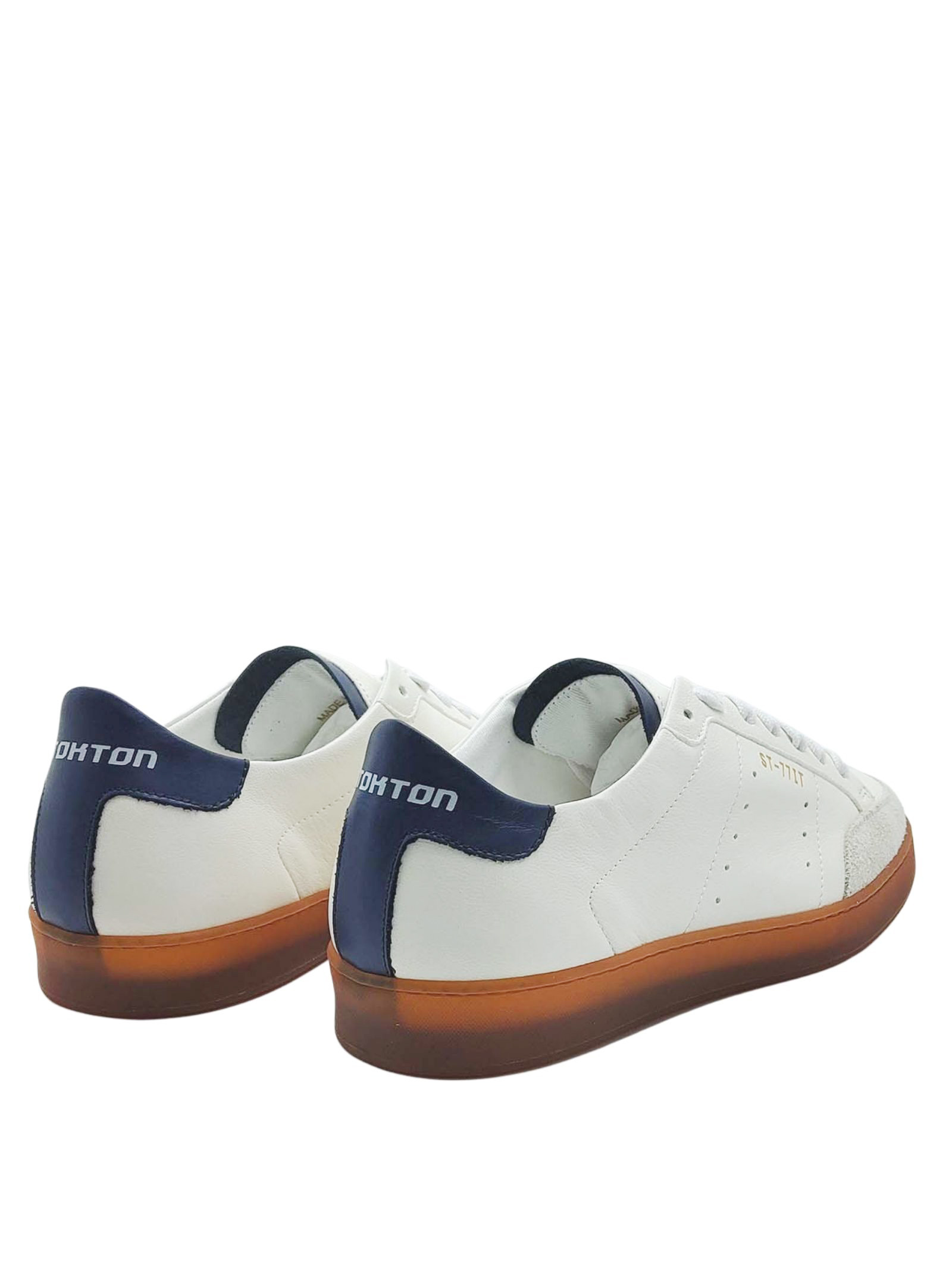 Men's Shoes Sneakers Off White in Leather and Suede and Vintage Honey Rubber Bottom Stokton   Sneakers   NOHA100