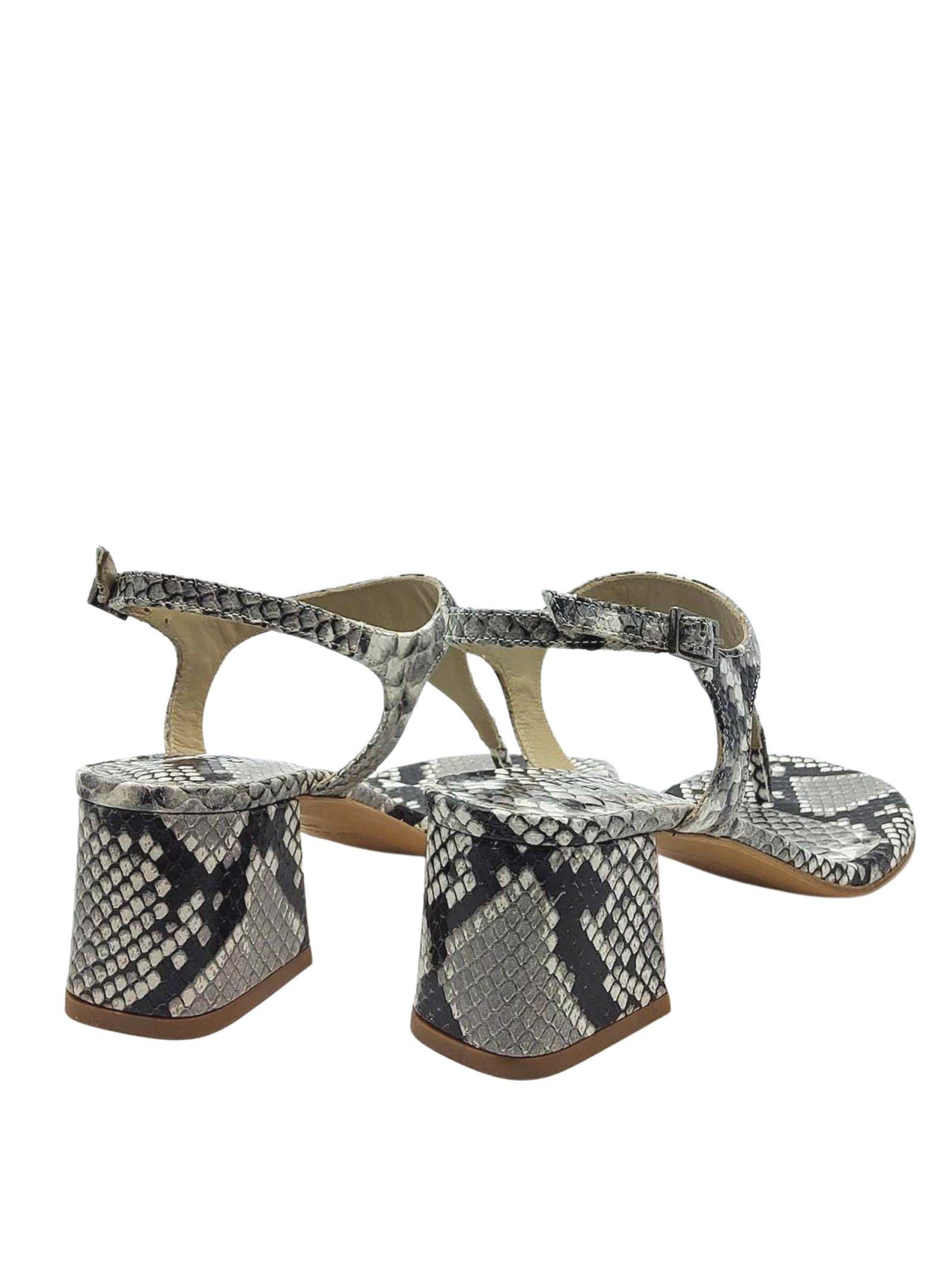 Calzature Donna Sandali Infradito In Pelle Pitonata Roccia Con Cinturino E Tacco Quadrato Tattoo   Sandali   107502