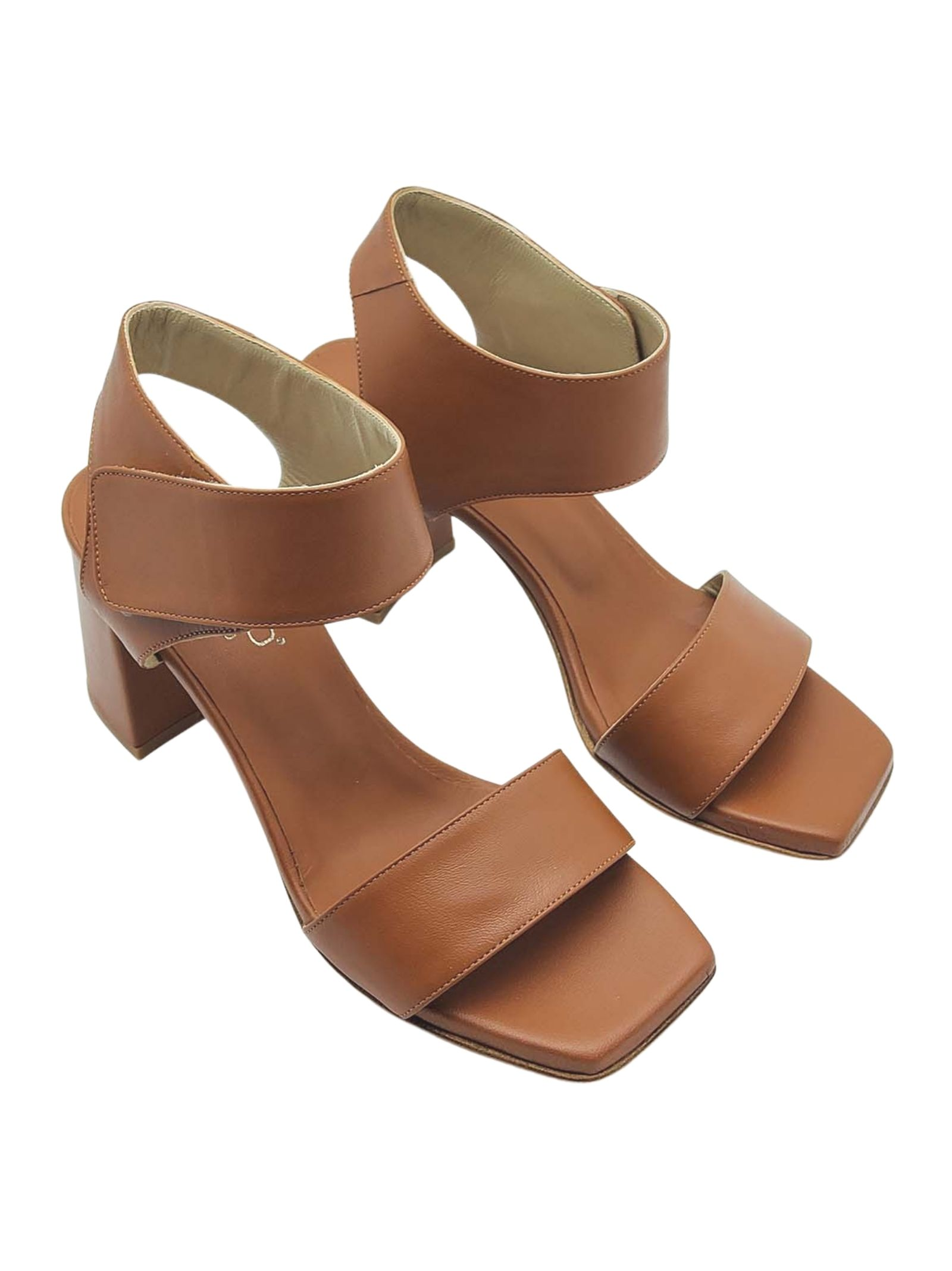 Women's Shoes Leather Sandals with High Heel Strap and Square Toe Tattoo | Sandals | 109014