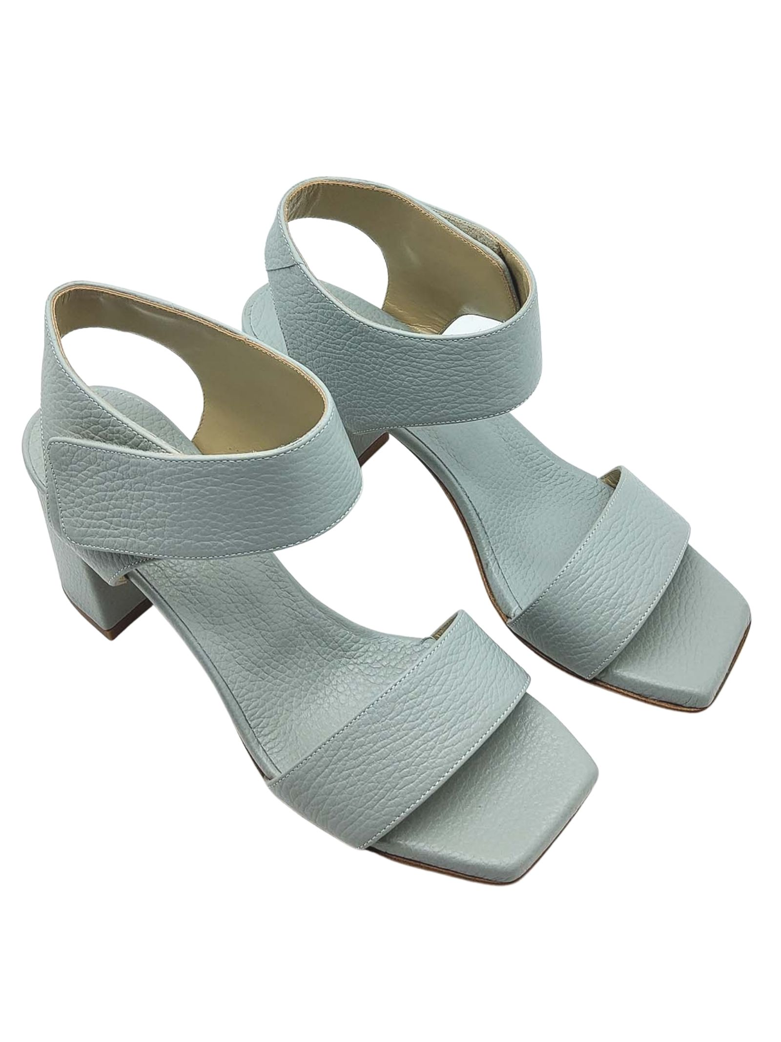 Women's Shoes Light Blue Leather Sandals with High Heel Strap and Square Toe Tattoo | Sandals | 109400