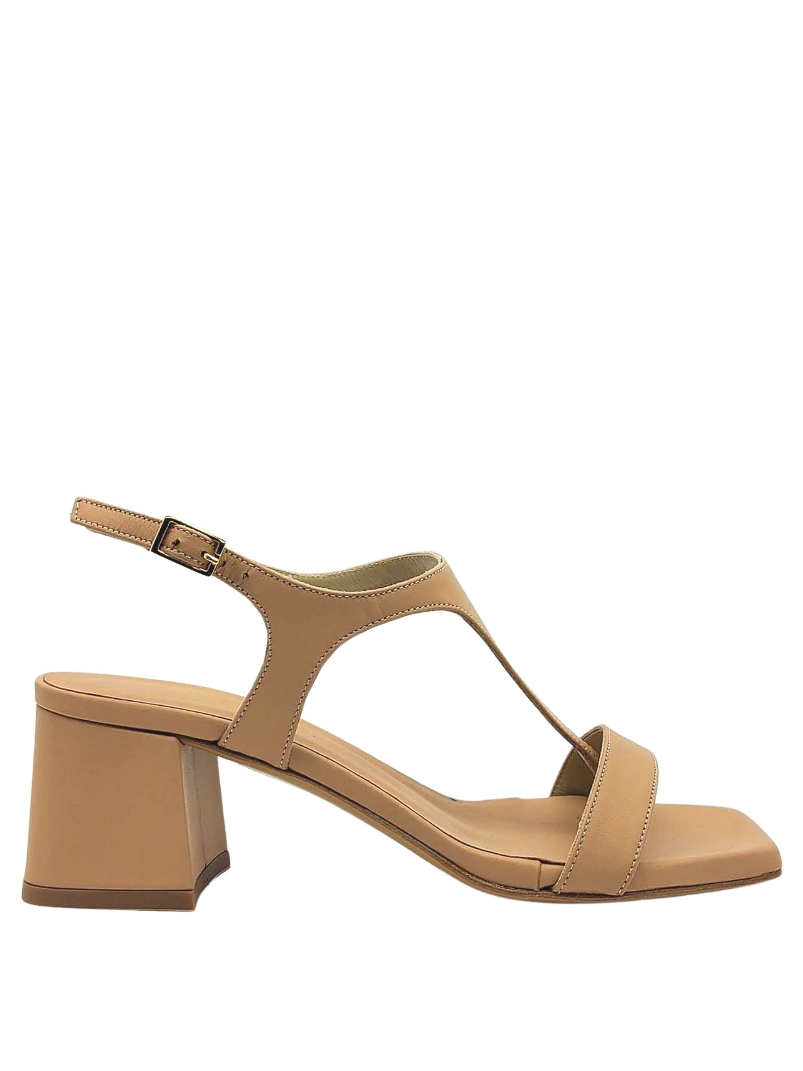 Women's Shoes Thong Sandals In Nude Leather Heel And Square Toe Tattoo | Sandals | 110300