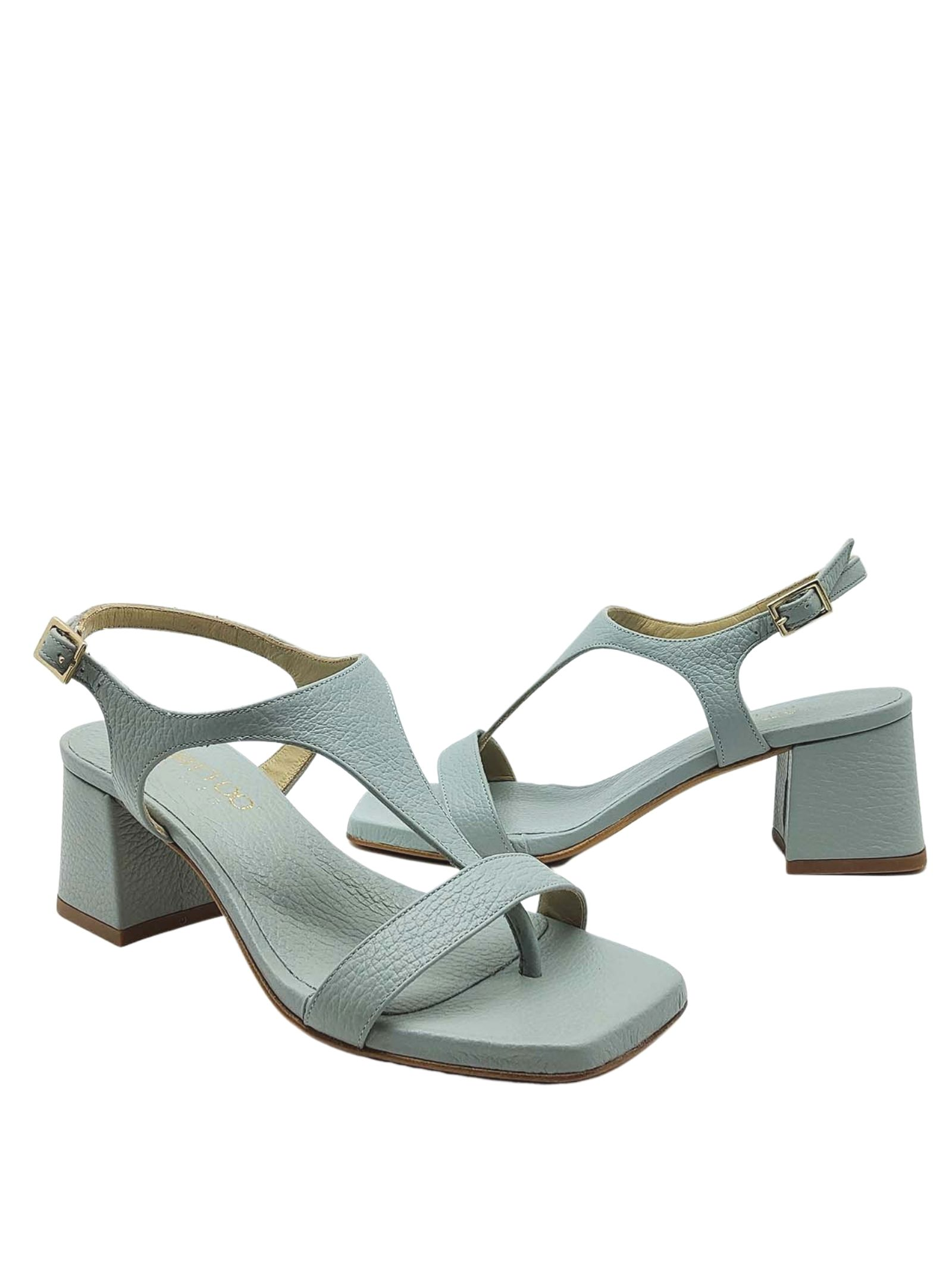 Women's Shoes Flip-Flops Sandals In Leather Sky Heel And Square Toe Tattoo | Sandals | 110400