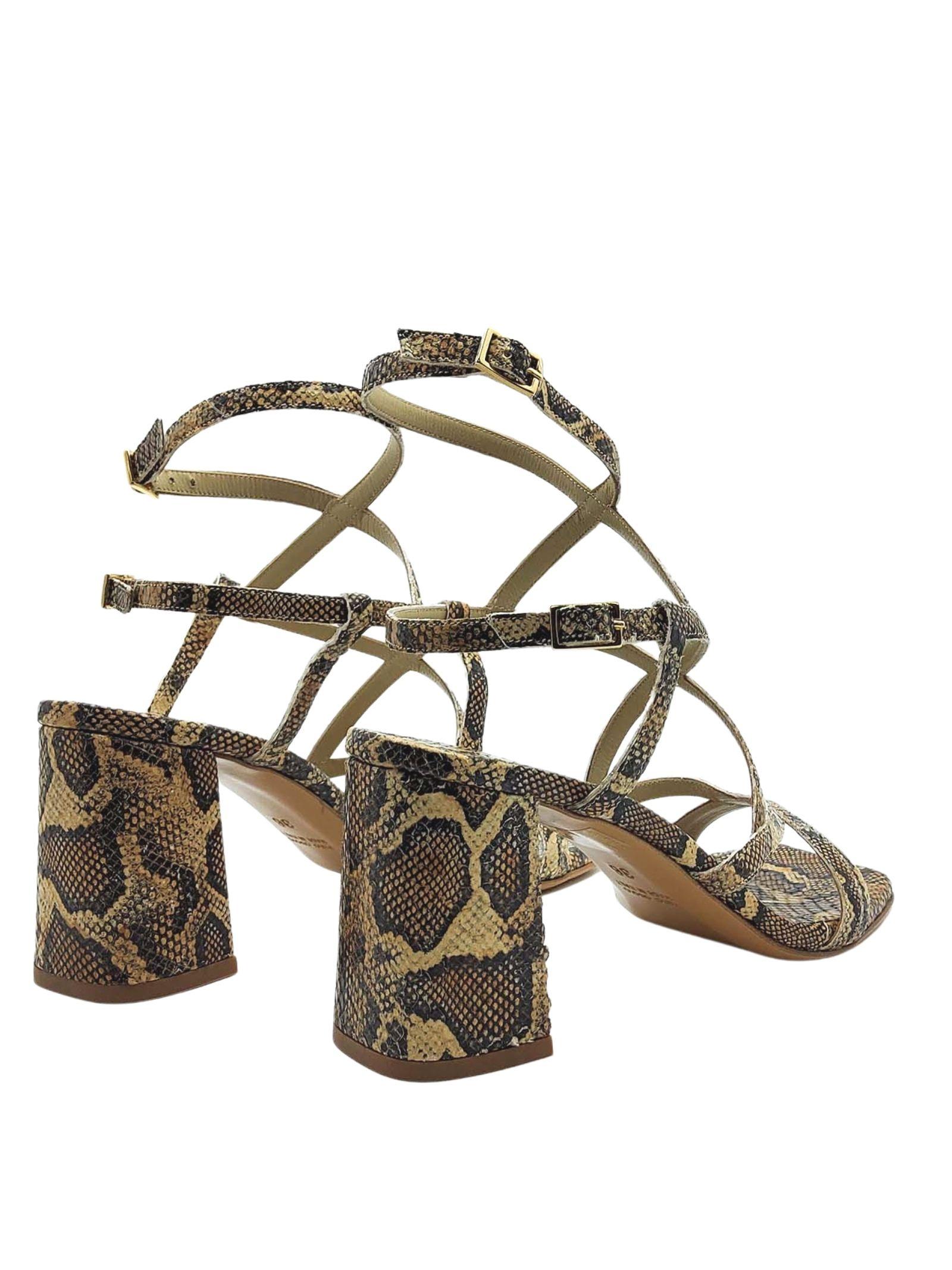 Calzature Donna Sandali In Pelle Stampa Pitone Punta Quadra Tacco Alto Con Cinturini Intrecciati Tattoo | Sandali | 119MILO502