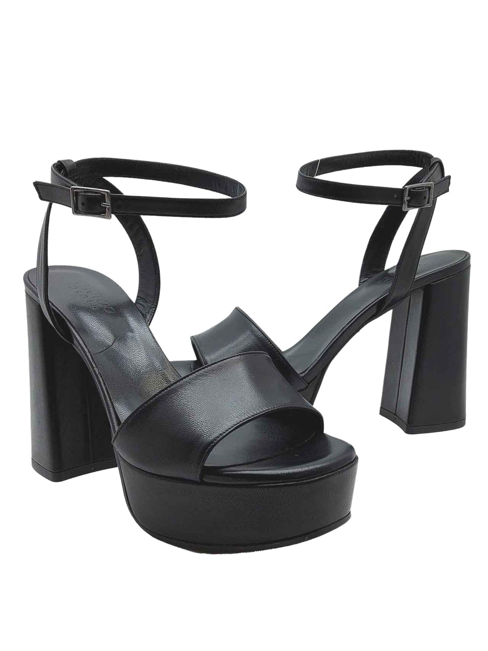 Calzature Donna Sandali Tacco Alto e Plateau in pelle Nera con Cinturino alla Caviglia Tattoo   Sandali   122001