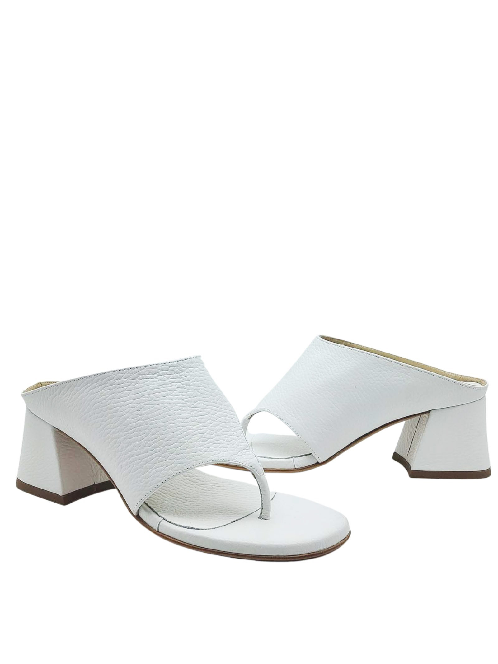 Women's Shoes Thong Sandals in White Leather with Band Tattoo | Sandals | 4105100