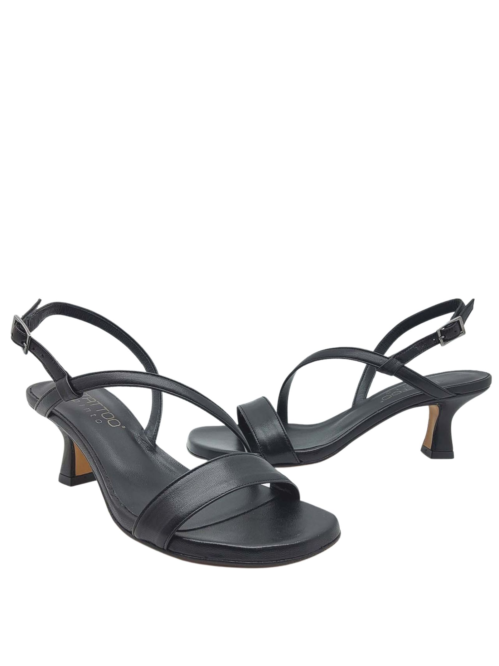 Women's Shoes Black Leather Sandals with Low Heel and Thin Straps Tattoo   Sandals   5011001