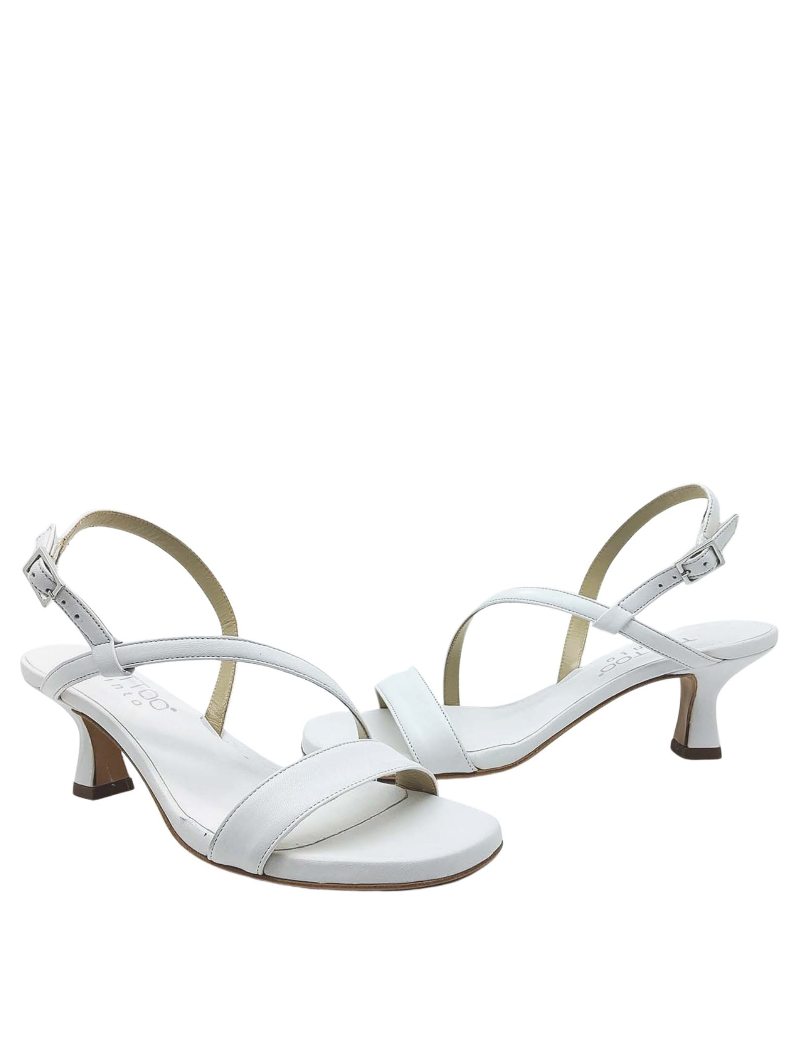 Women's Shoes White Leather Sandals Low Heel and Thin Straps Tattoo   Sandals   5011100