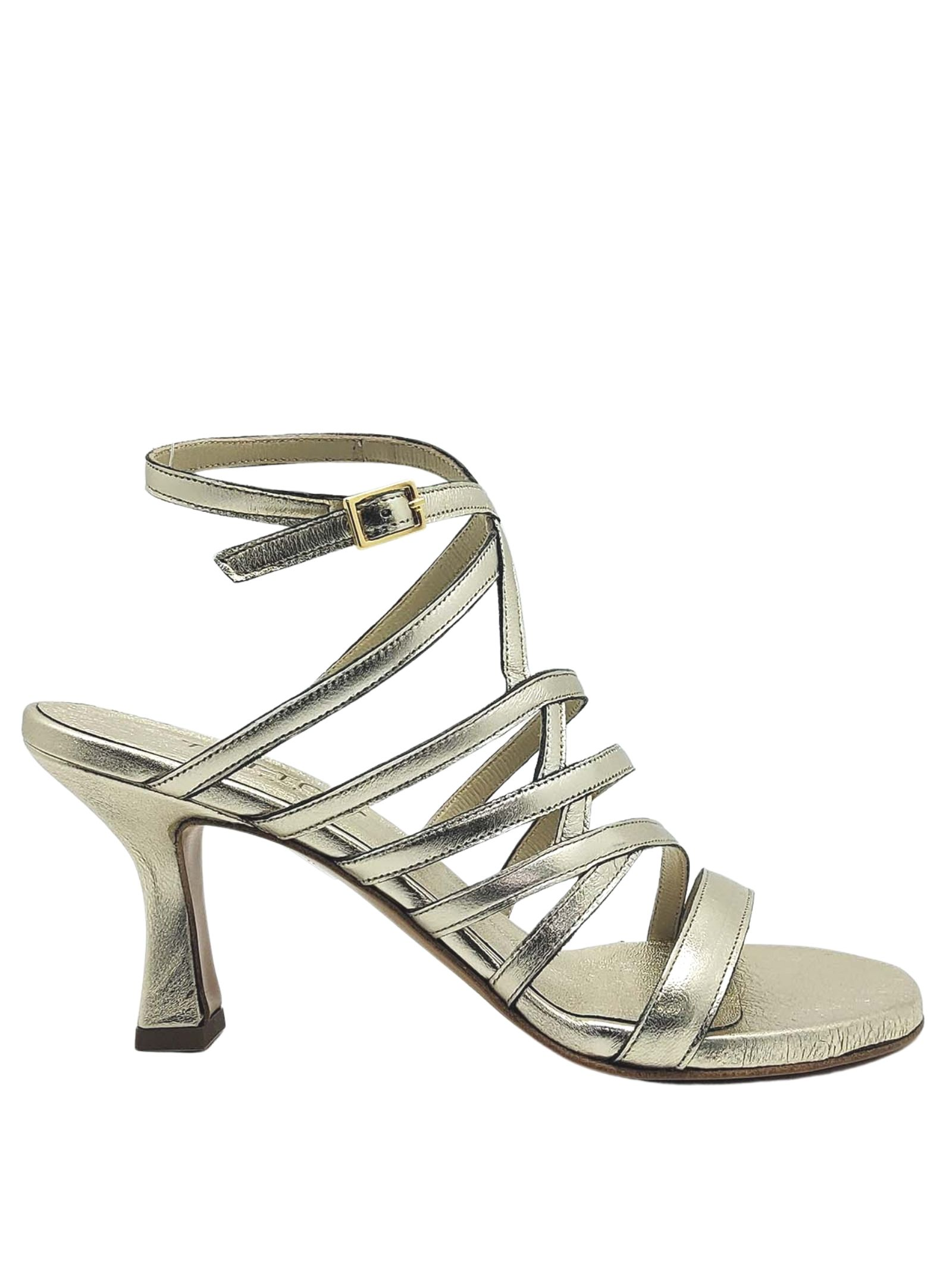 Women's Shoes Gold Leather Sandals With Straps and Side Buckle Closure Tattoo   Sandals   7026602