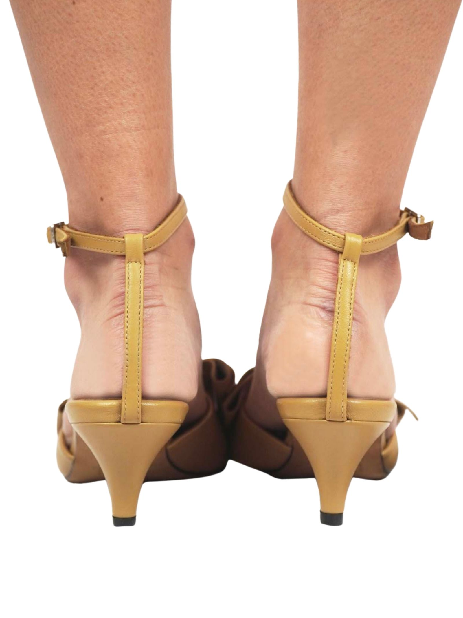 Women's Shoes Beige Leather Sandals with Matching Leather Bow and Ankle Strap Toral   Sandals   TL12662015