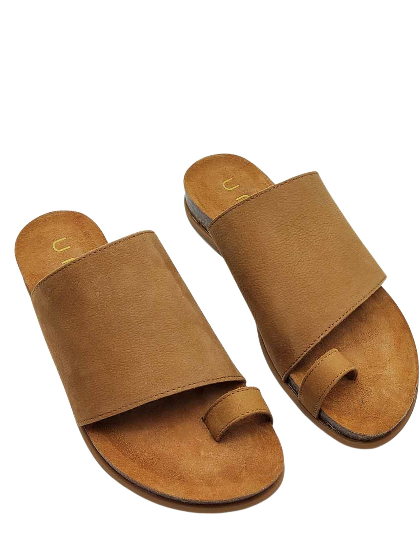 Women's Shoes Thong Sandals in Tan Leather with Band and Fussbett with Rubber Sole Unisa | Flat sandals | CALESIN014