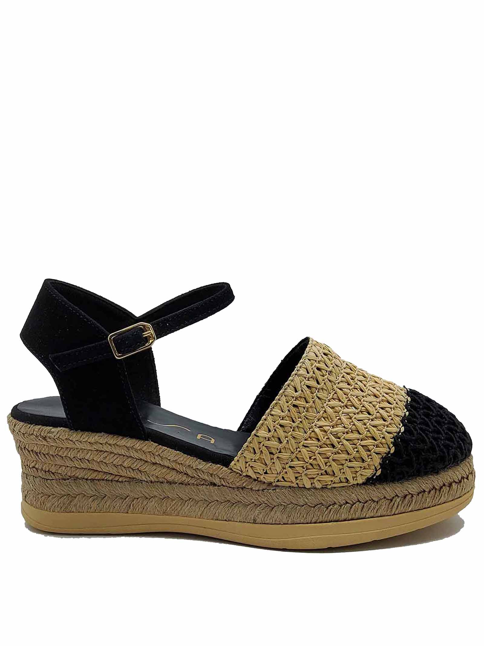 Women's Shoes Espadrilles in Black and Natural Bicolor Woven Fabric with Rope Wedge Unisa   Wedge Sandals   CANCIO001
