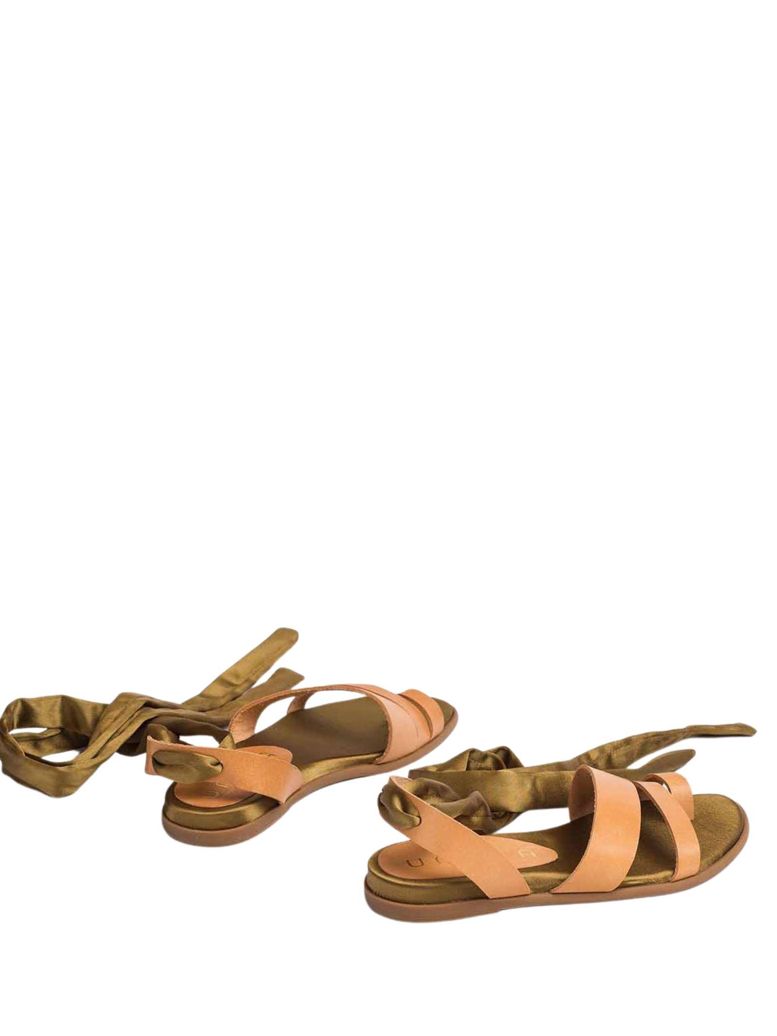 Calzature Donna Sandali Bassi in Pelle con Lacci alla Caviglia Unisa | Sandali Flat | CARAVI015