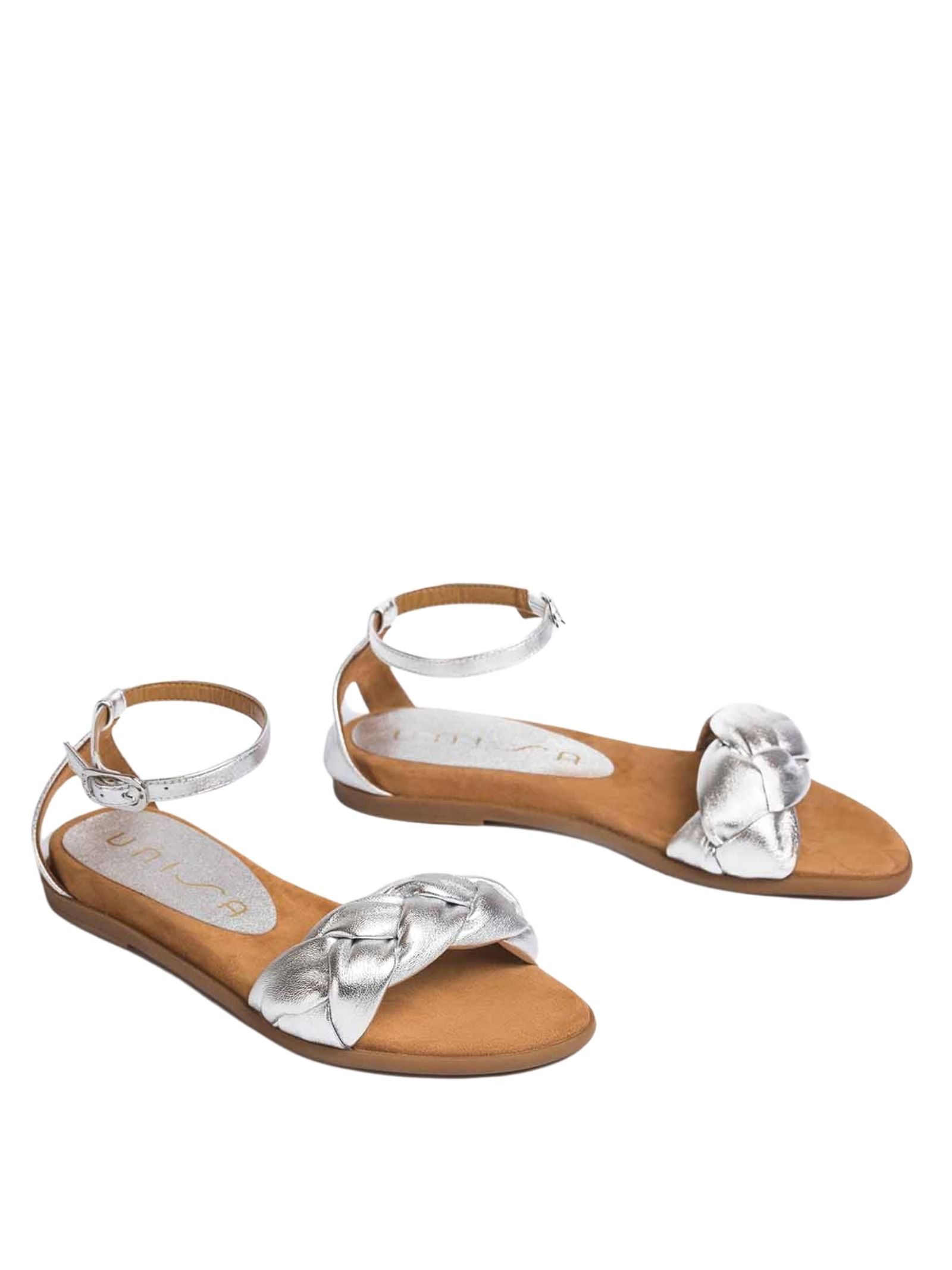 Women's Shoes Low Sandals in Braided Silver Laminated Leather with Ankle Strap Unisa | Flat sandals | CELADA604
