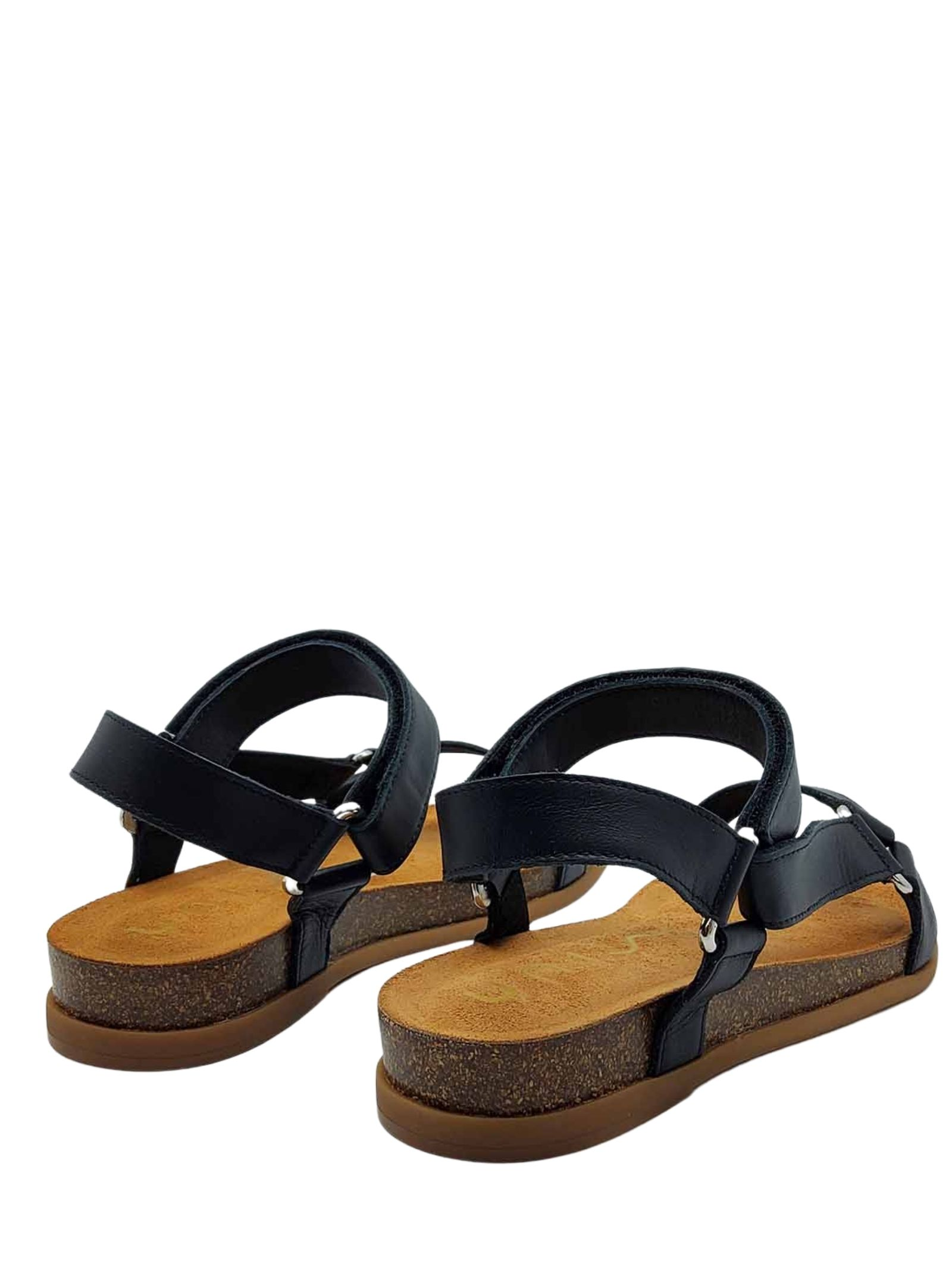 Women's Shoes Flat Sandals in Black Leather with Silver Hooks Strap with Velcro Closure Unisa | Sandals | COLIRO001