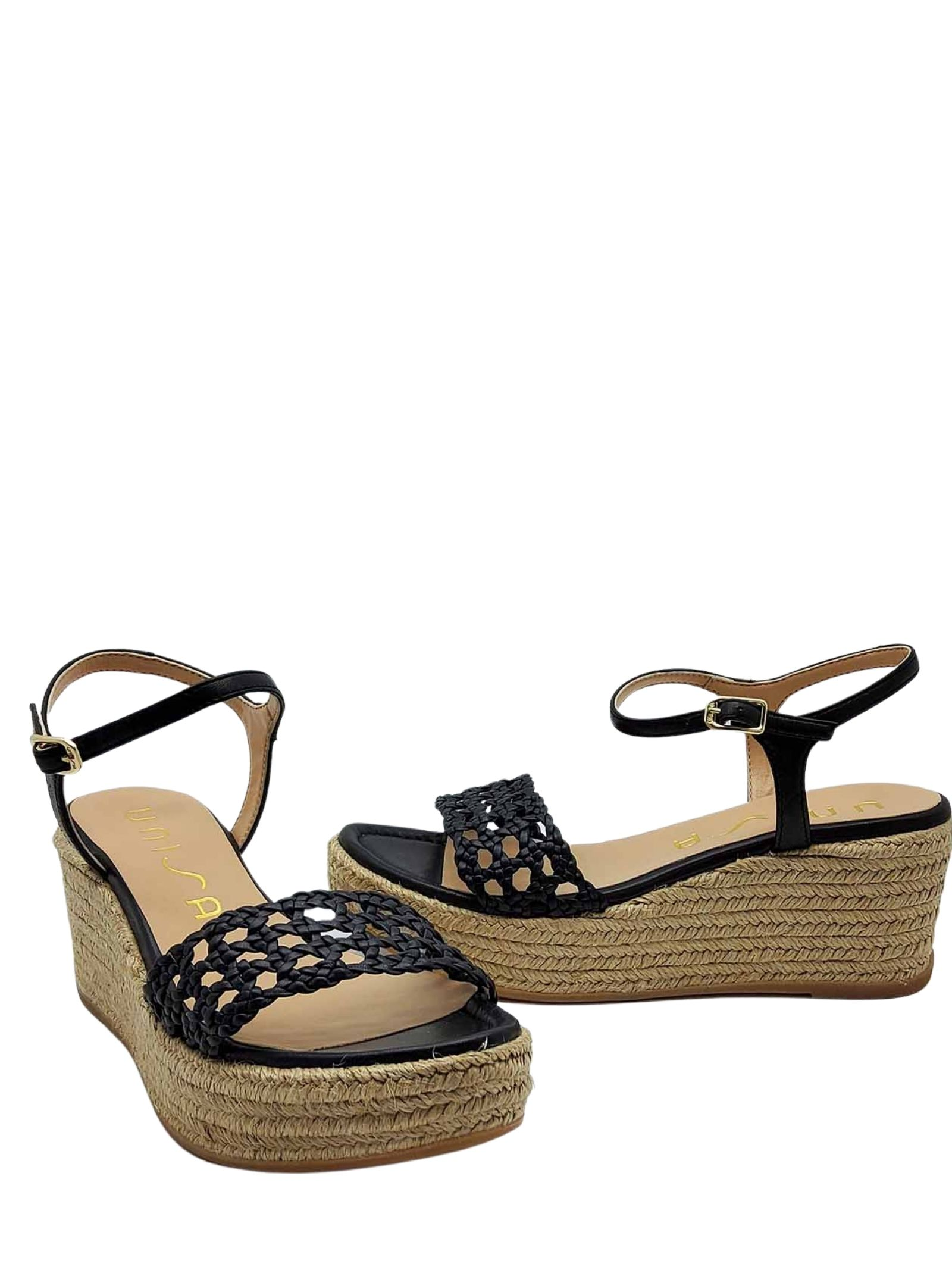 Women's Shoes Black Leather Sandals With Rope Wedge and Ankle Strap Unisa | Wedge Sandals | KAYTO001