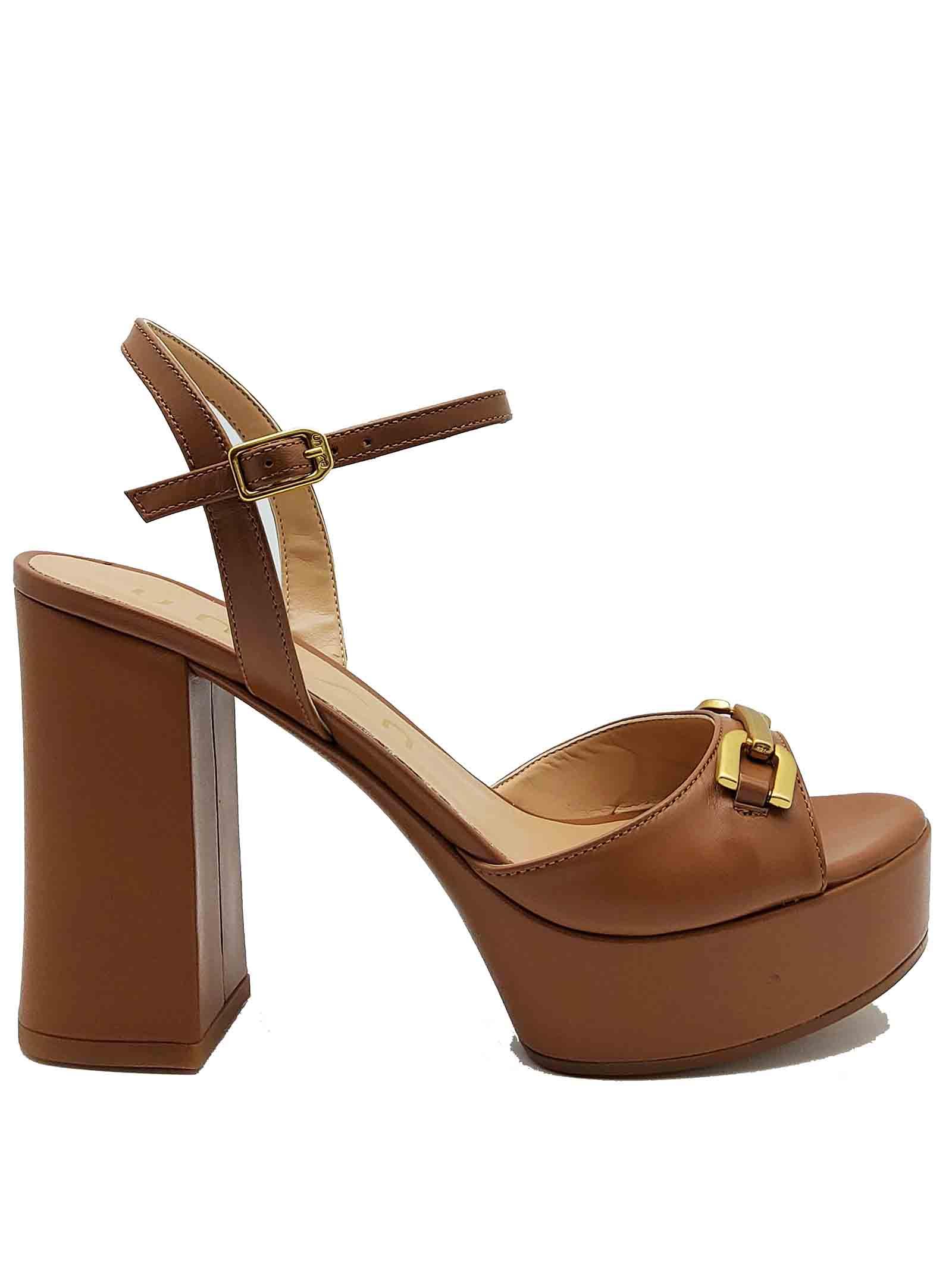 Calzature donna Sandali in Pelle Cuoio con Morsetto in Oro Tacco Alto Plateau e Cinturino alla Caviglia Unisa | Sandali | VADILLO014