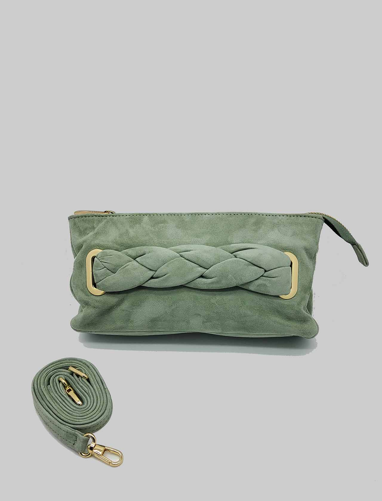 Woman Bag Clutch Bag in Green Suede with Braided Handle and Removable Shoulder Strap in Matching Color Unisa | Bags and backpacks | ZFORIS005