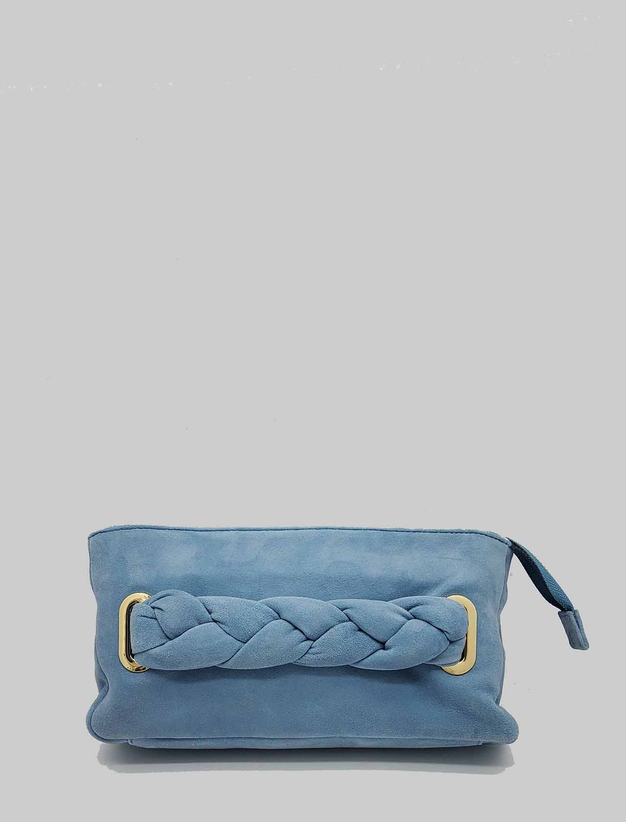 Woman Bag Clutch Bag in Blue Suede with Braided Handle and Removable Shoulder Strap in Color Unisa | Bags and backpacks | ZFORIS026
