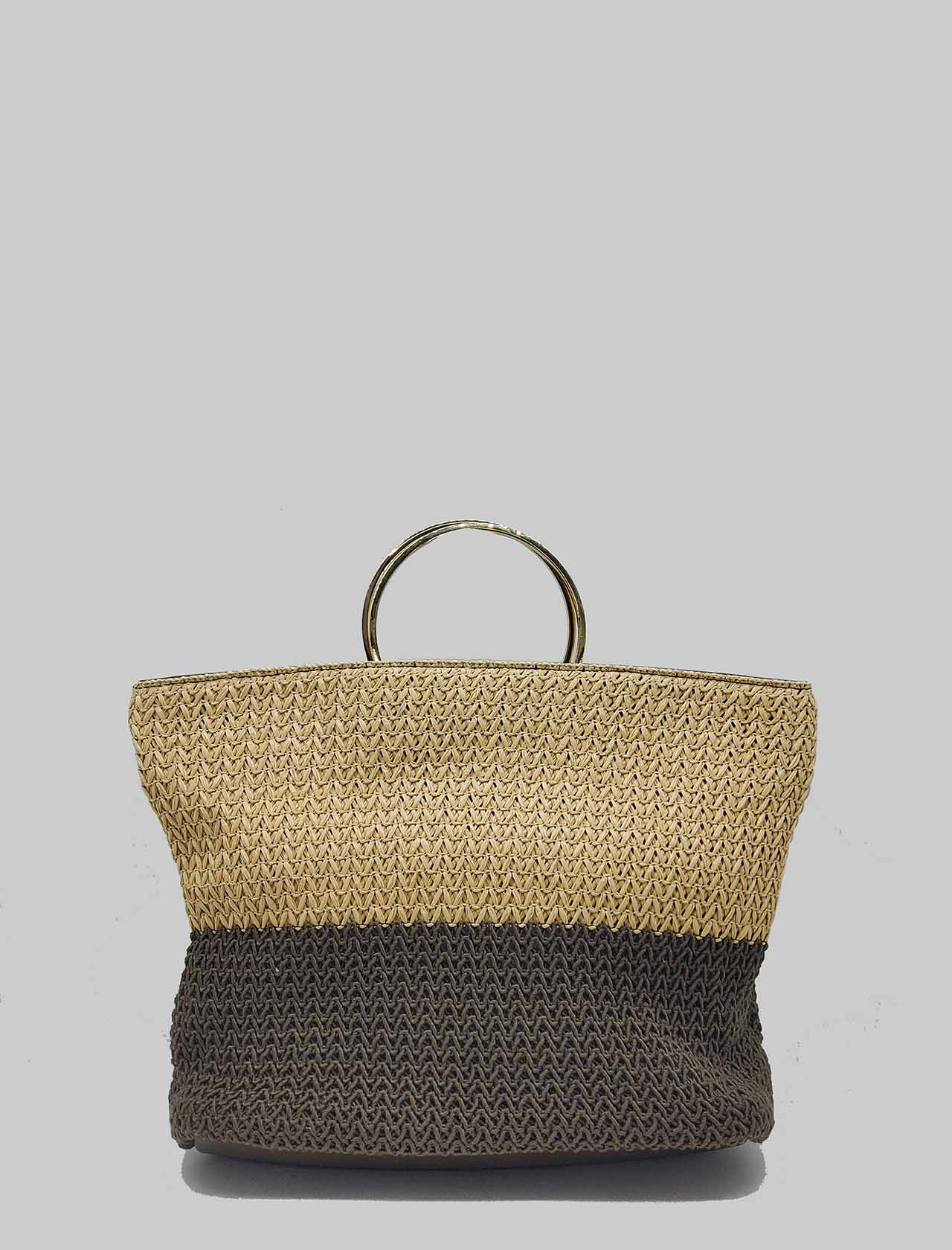 Woman Shoulder Bag in Taupe and Natural Bicolor Raffia with Gold Metal Handle and Shoulder Strap Unisa | Bags and backpacks | ZJENUS901