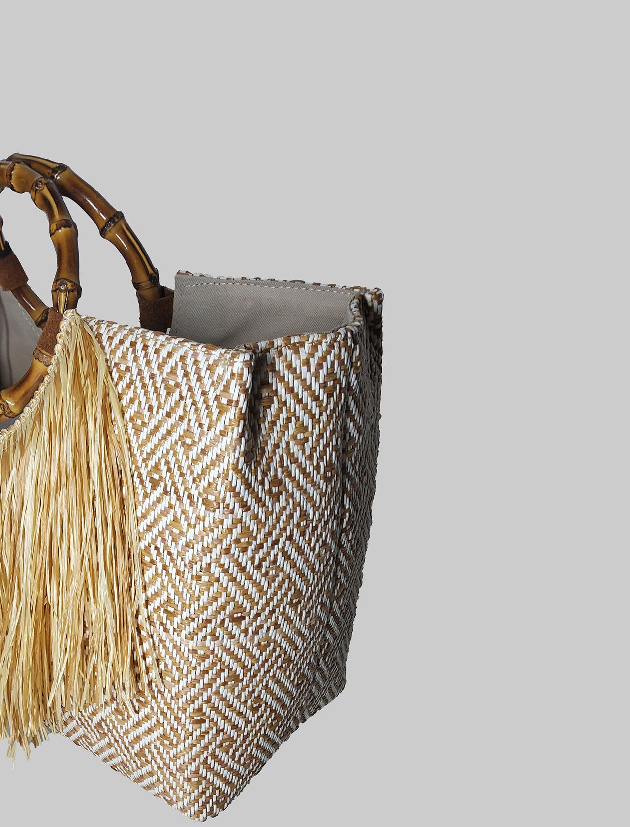 Borsa Donna Shopping in Rafia Naturale con Frange con Manici in Bamboo Via Mail Bag   Borse e zaini   BAMBOOA02