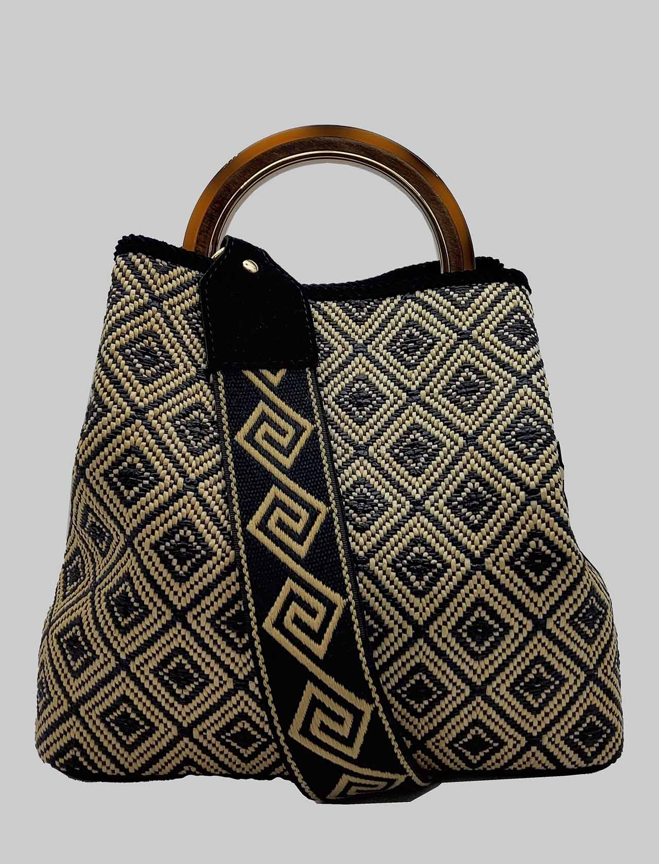 Woman Bucket Bag in Black Jacquard Fabric with Bone Handle and Patterned Shoulder Strap Via Mail Bag | Bags and backpacks | CHECKB01