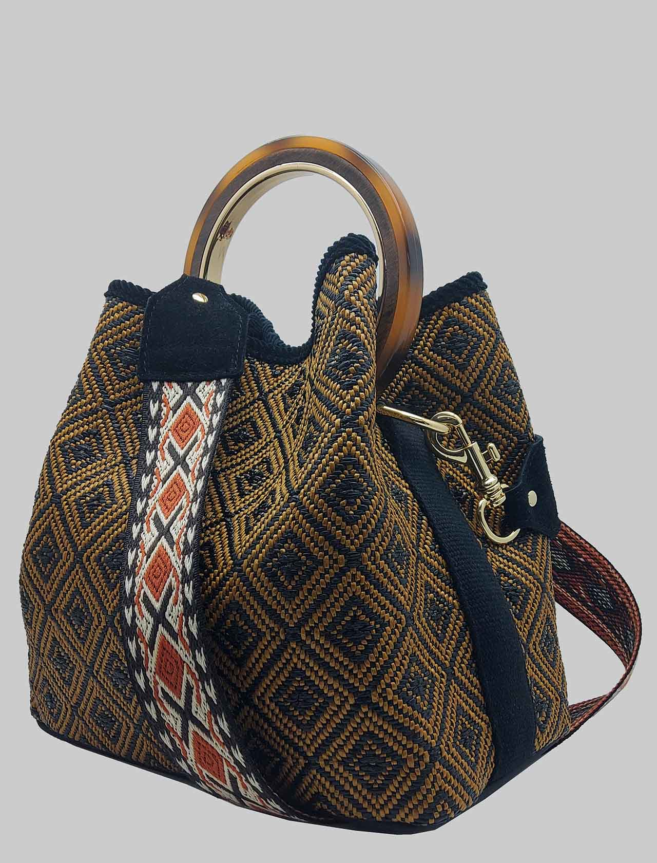 Woman Bucket Bag in Bronze Jacquard Fabric with Bone Handle and Patterned Shoulder Strap Via Mail Bag | Bags and backpacks | CHECKB02