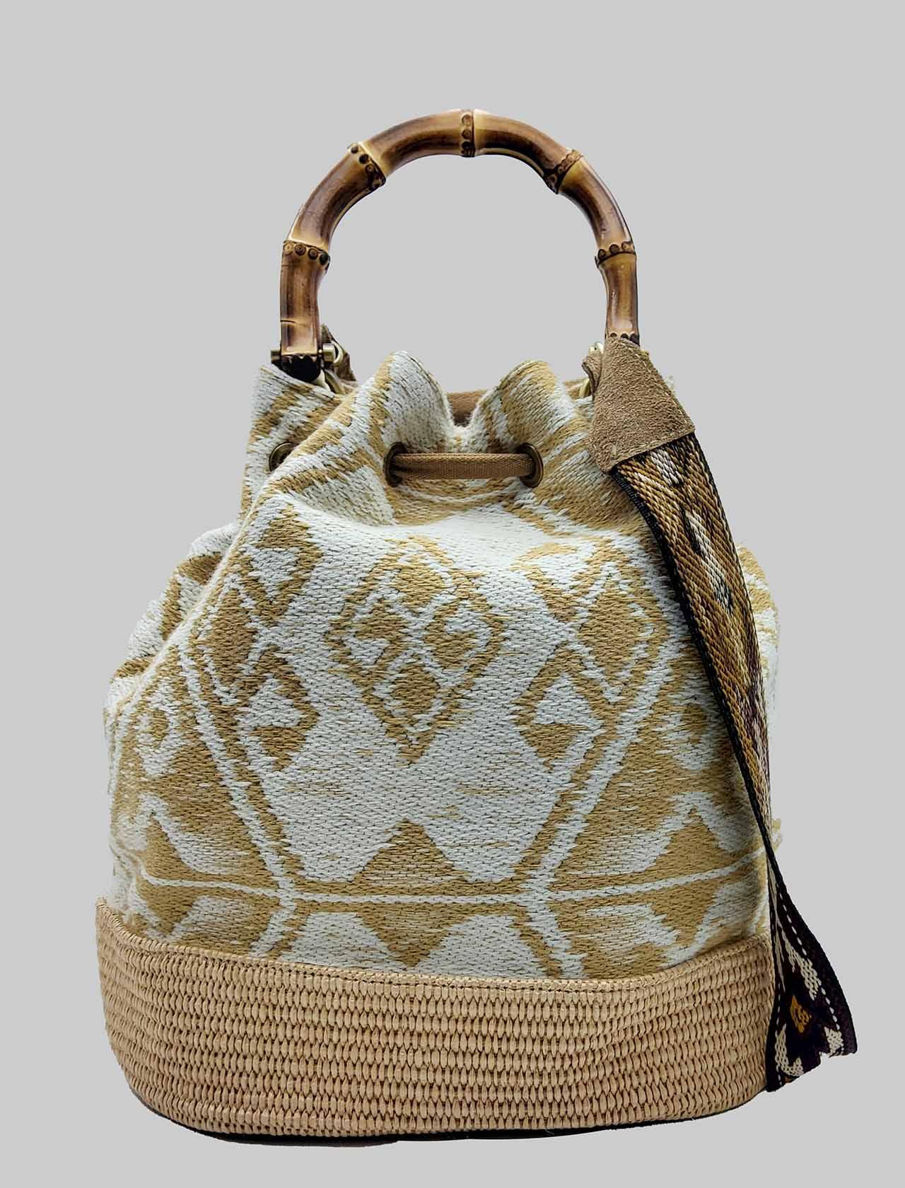 Borsa Donna Secchiello Jacquard Naturale con Frange e Manici in Bamboo Via Mail Bag   Borse e zaini   GIPSYK01