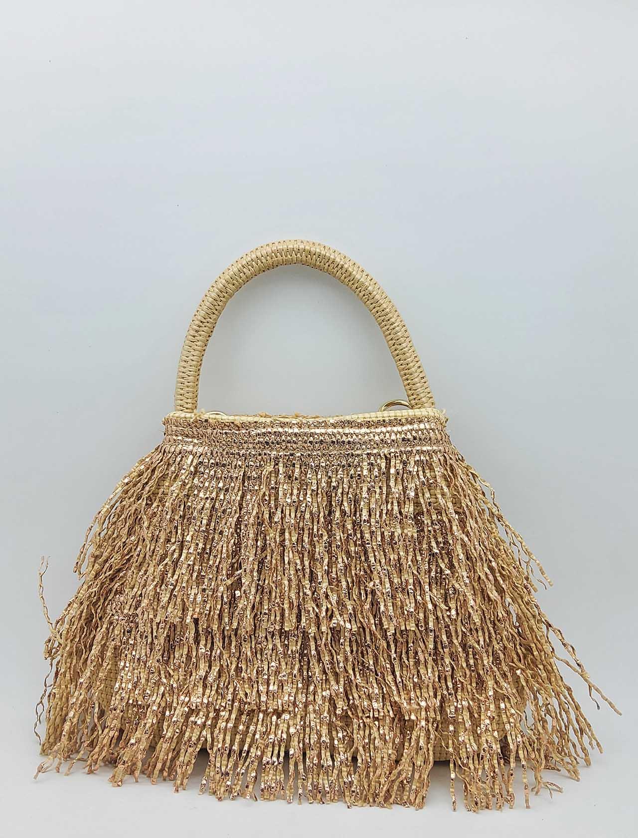 Borsa Donna a Piccola in Frange Effetto Glitter in Colore Nude con Manico a Mano e Tracolla in Tessuto Removibile Via Mail Bag | Borse e zaini | GLITTERG02