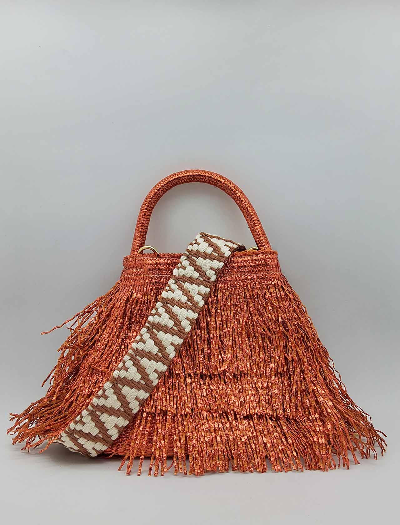 Borsa Donna a Piccola in Frange Effetto Glitter in Colore Arancio con Manico a Mano e Tracolla in Tessuto Removibile Via Mail Bag | Borse e zaini | GLITTERG04