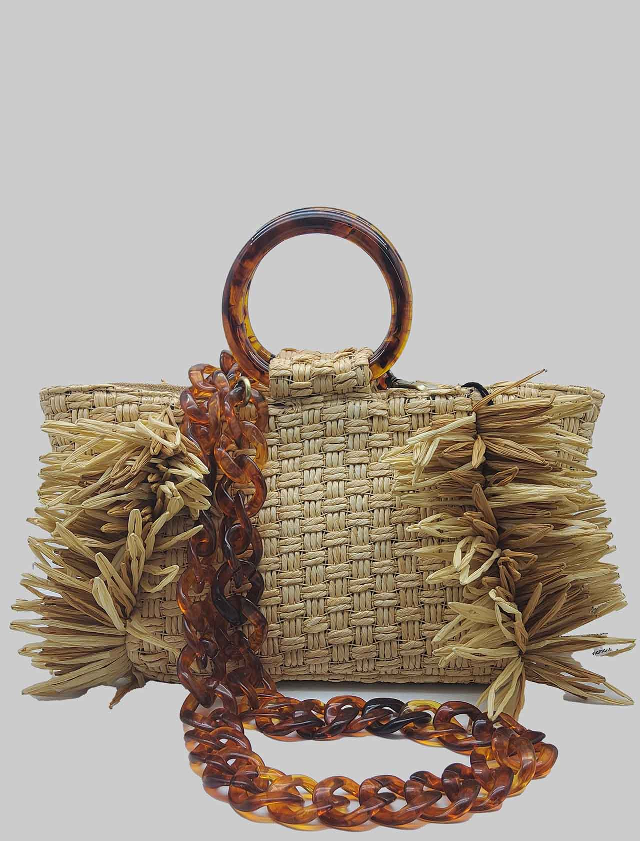 Borsa Donna In Rafia Intrecciata Naturale Con Manici In Resina e Tracolla a Catena Removibile Via Mail Bag | Borse e zaini | RAFIAR01