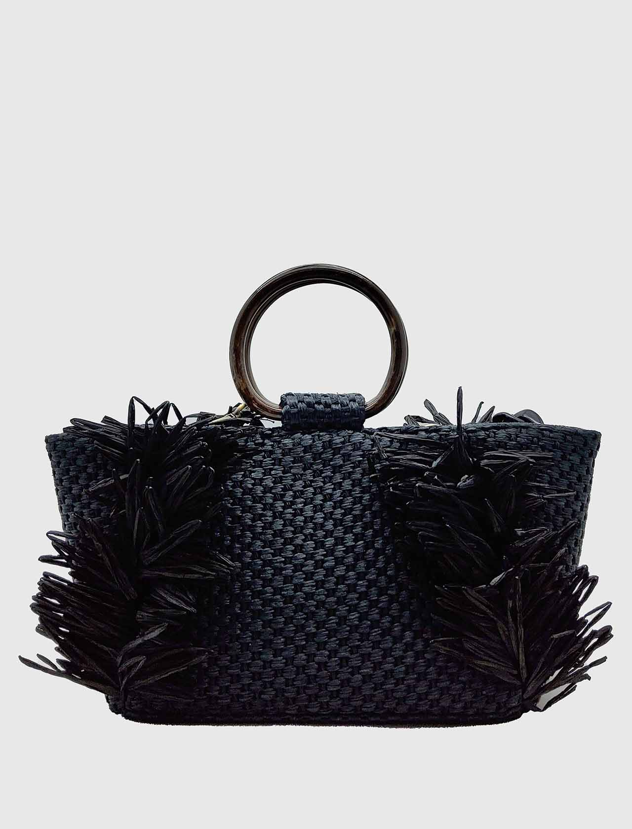 Woman Bag In Black Woven Raffia With Resin Handles And Removable Chain Shoulder Strap Via Mail Bag | Bags and backpacks | RAFIAR03
