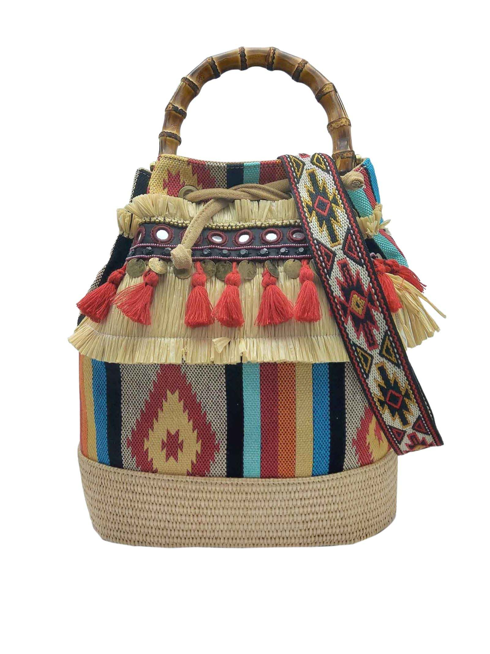 Woman Bucket Bag Jacquard Beige and Red with Fringes and Bamboo Handles Via Mail Bag | Bags and backpacks | TRIBEH01