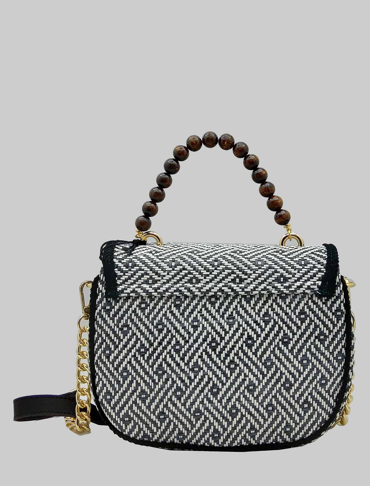 Women's Black and White Jacquard Shoulder Bag with Wooden Beaded Handle and Removable Suede Shoulder Strap and Gold Chain Via Mail Bag | Bags and backpacks | YUTAA04