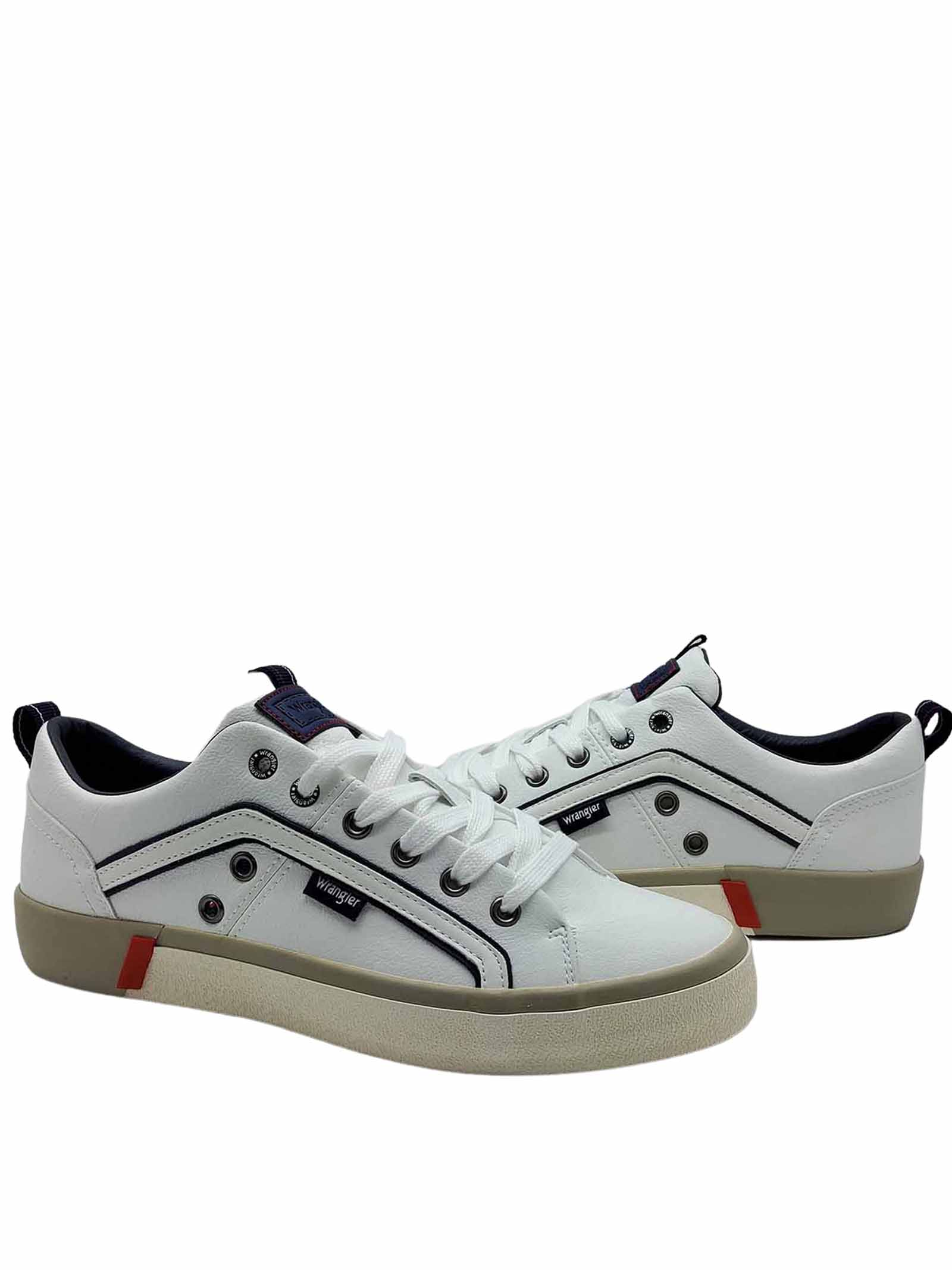 Calzature Uomo Sneakers Vegan Frisco in Eco Pelle Bianco e Fondo in Gomma Wrangler   Sneakers   WM01033A051
