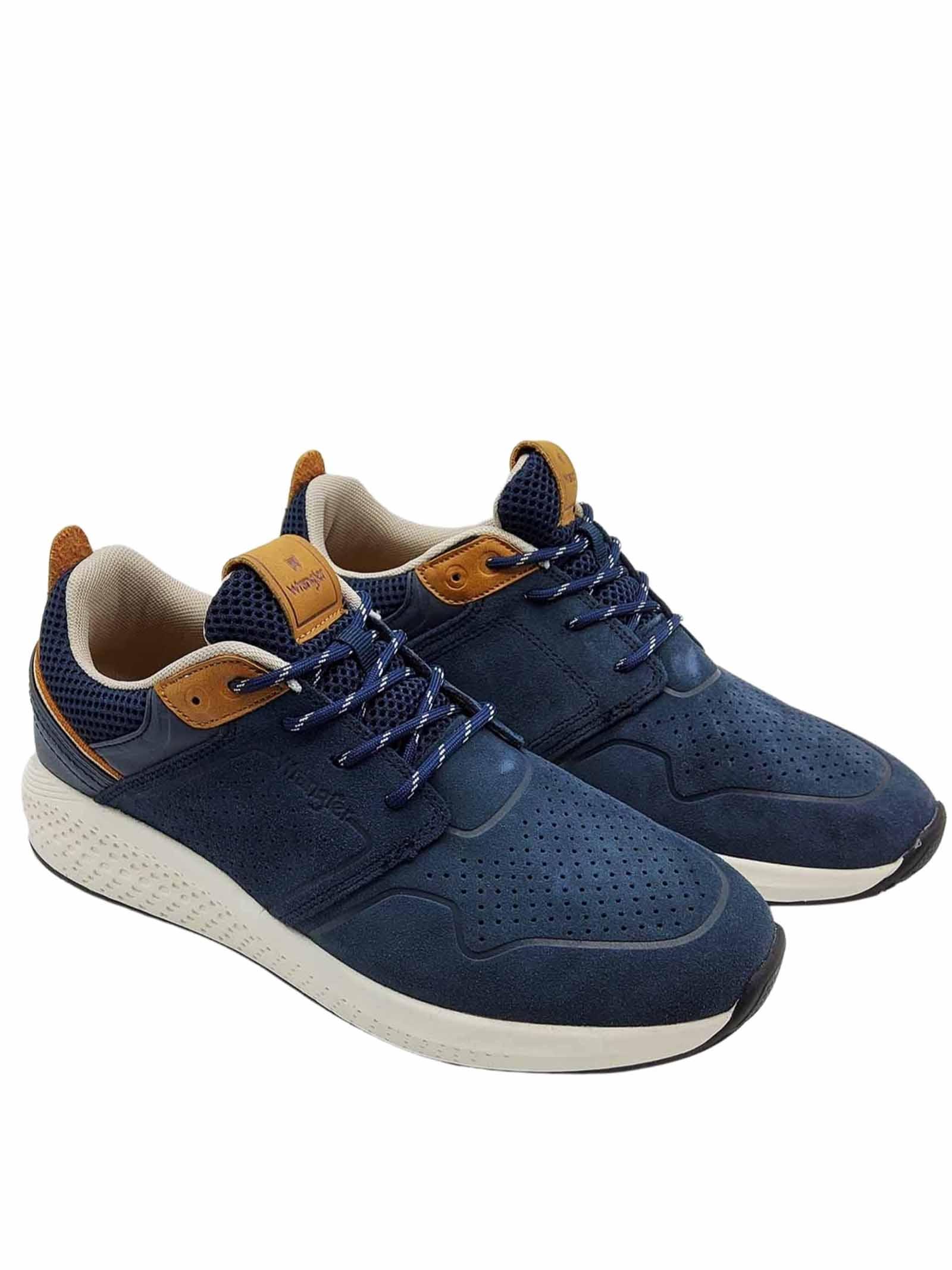 Calzature Uomo Sneakers Sequoia City in Camoscio Blu Militare con Fondo Ultraleggero Wrangler | Sneakers | WM11071A016