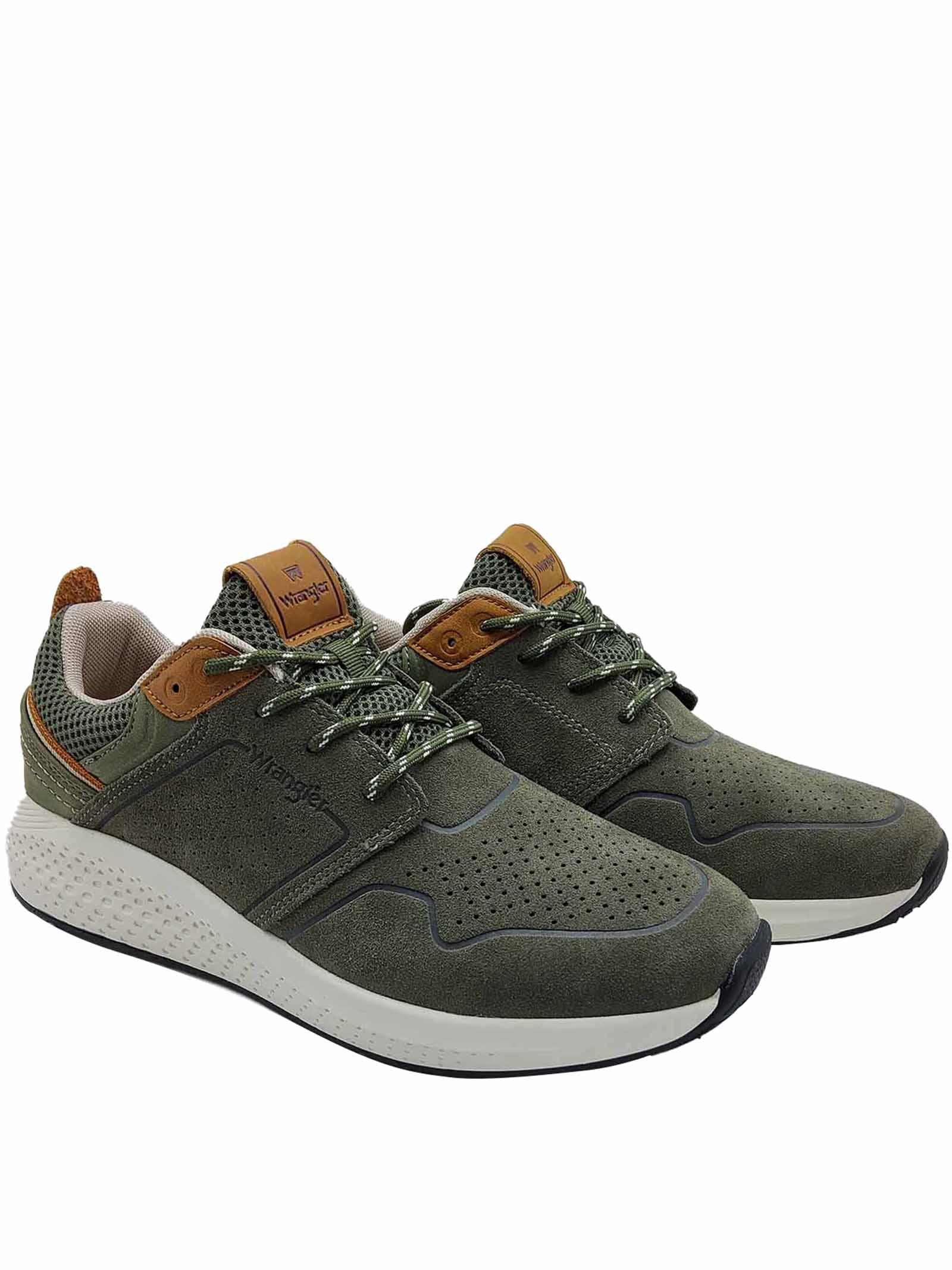 Calzature Uomo Sneakers Sequoia City in Camoscio Verde Militare con Fondo Ultraleggero Wrangler | Sneakers | WM11071A020