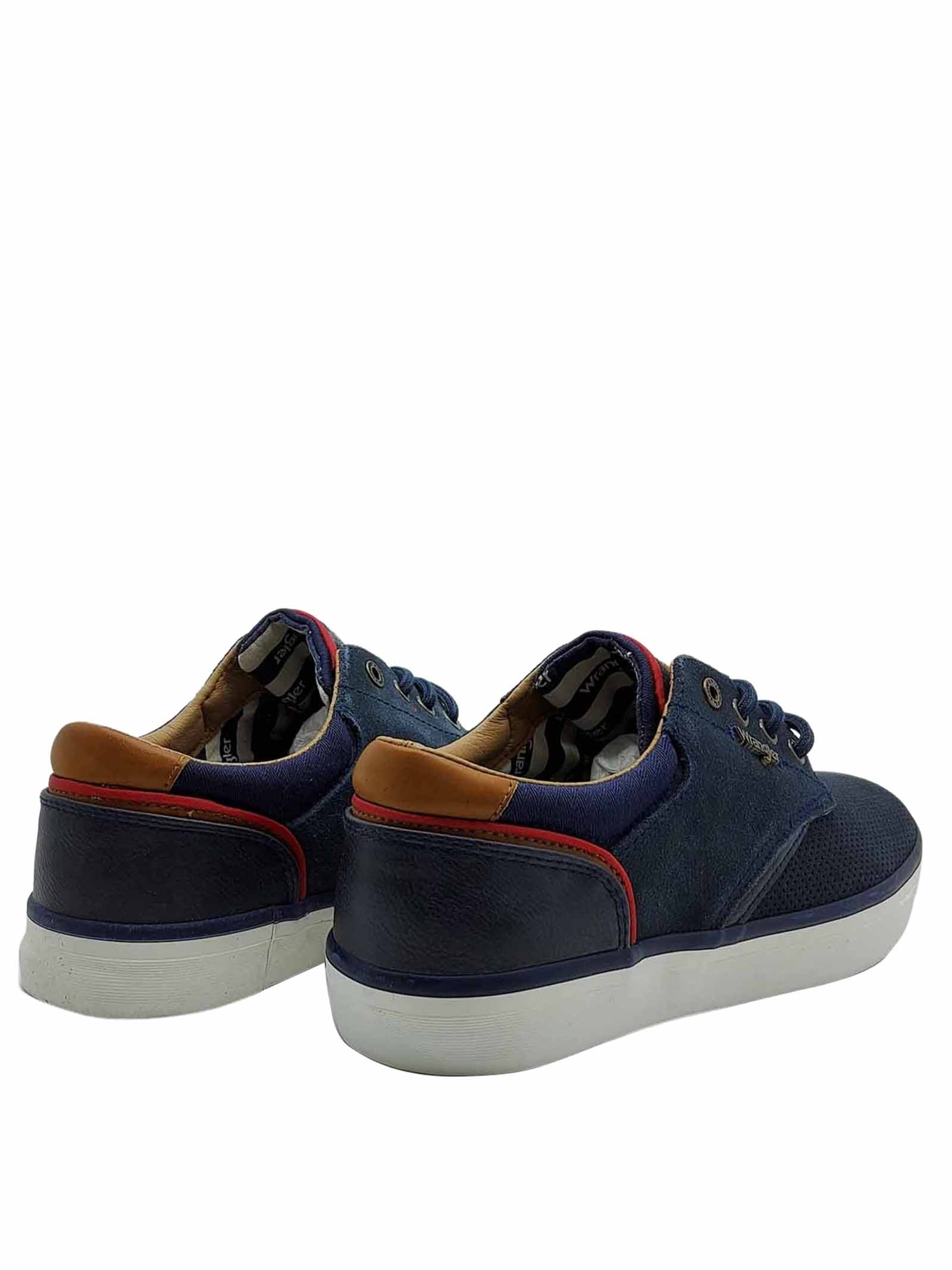 Men's Shoes Monument Sneakers in Blue Perforated Suede and Rubber Bottom Wrangler | Sneakers | WM11113A016