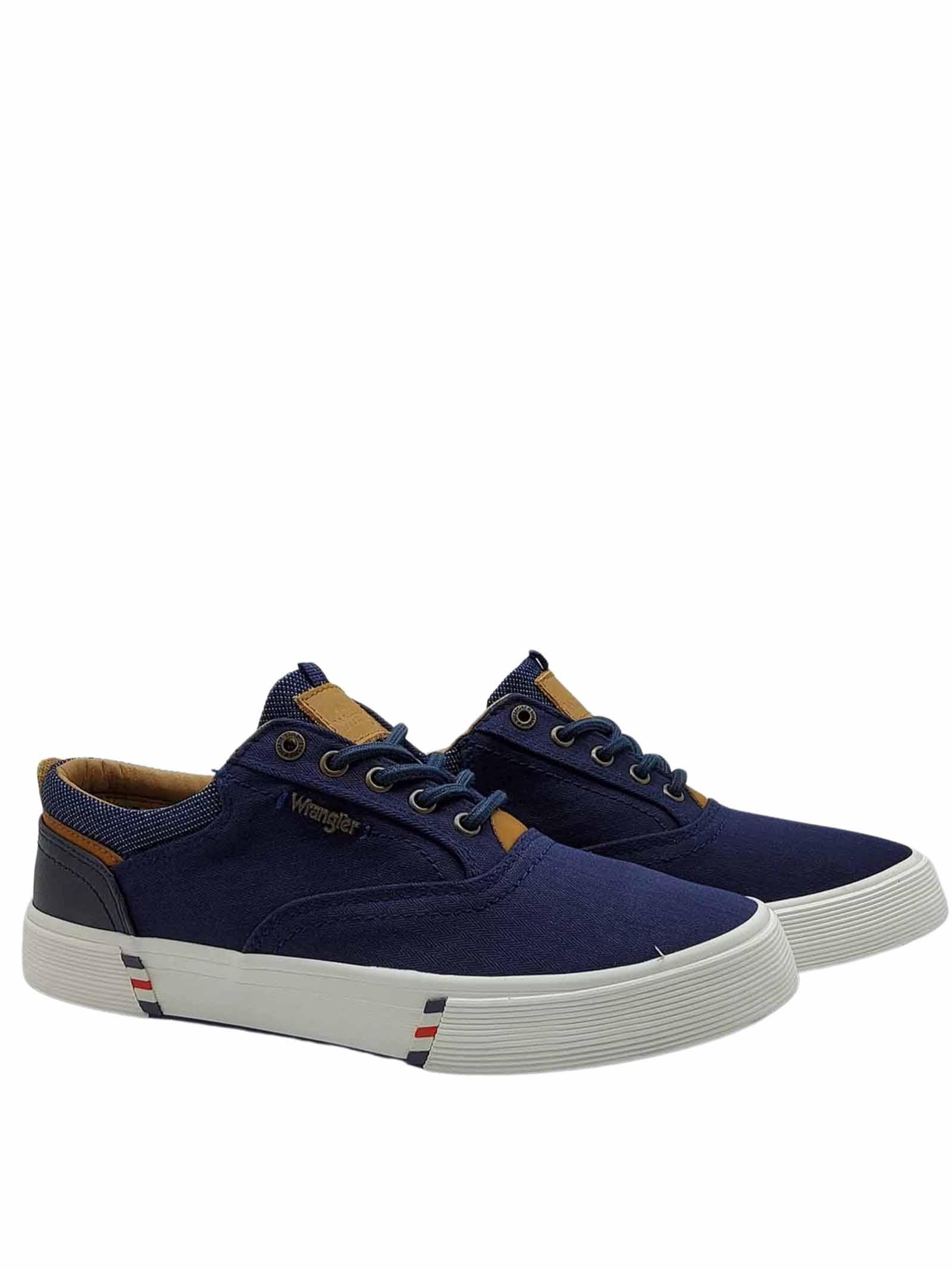 Calzature Uomo Sneakers Monument Board in Tessuto Blu e Fondo in Gomma Wrangler   Sneakers   WM11114A016
