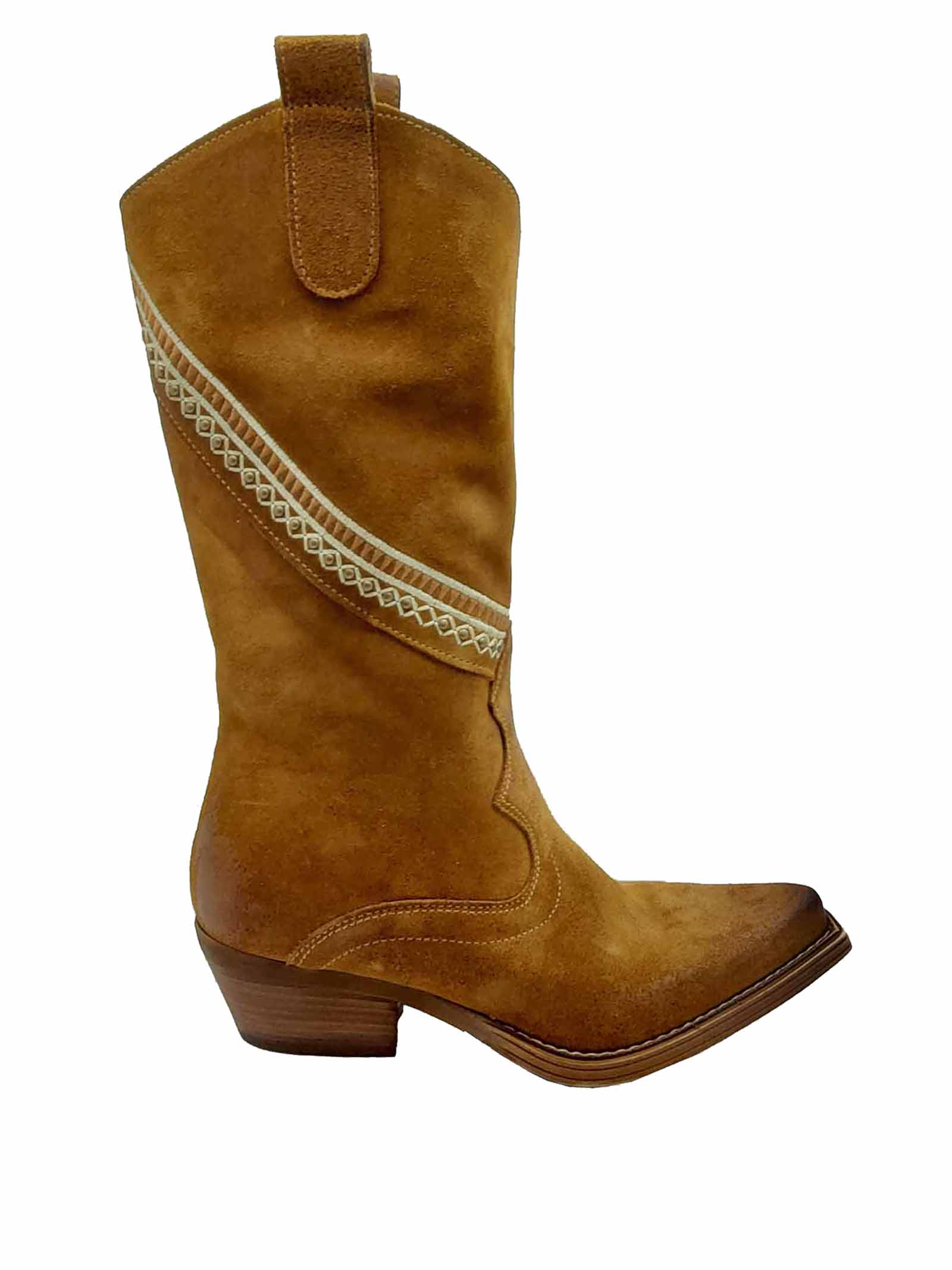 Women's Shoes Texan Boots in Leather Suede with Side Band and Heel and Bottom in Leather Zoe   Boots   APACHE03014