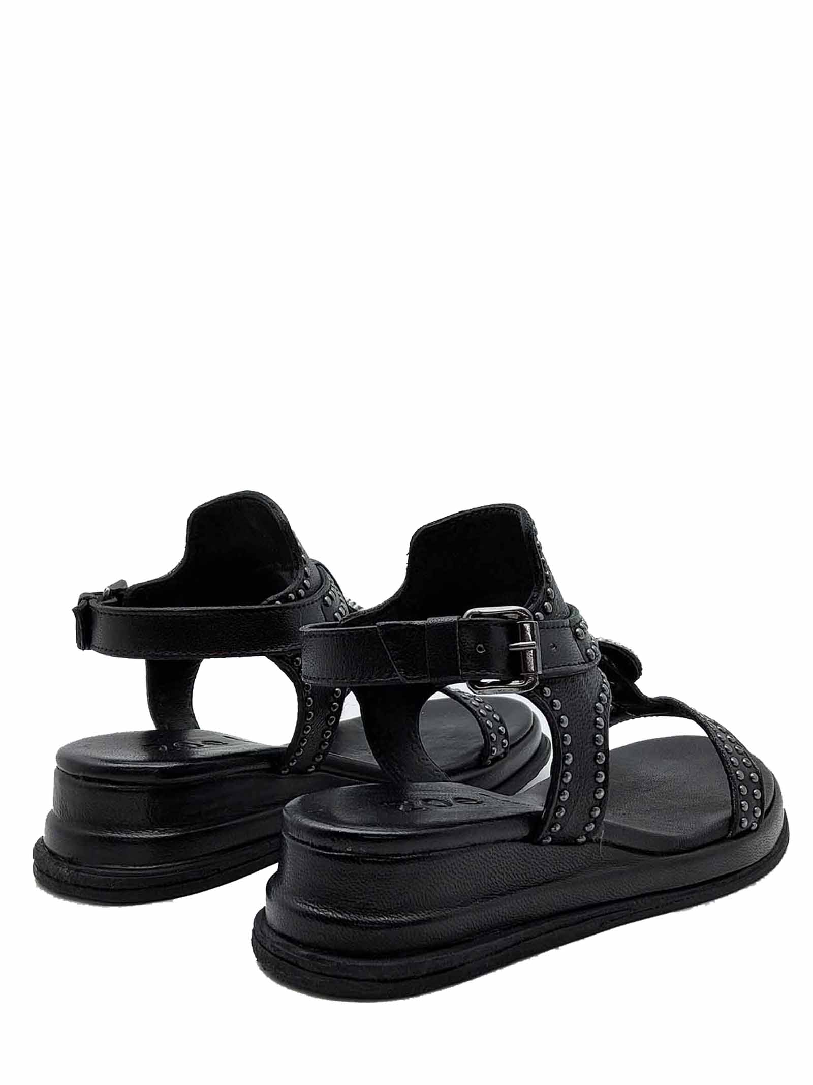 Women's Shoes Sandals in Black Leather with Studs and Ankle Strap Ultra Light Wedge Zoe | Wedge Sandals | CHEYENNE02001