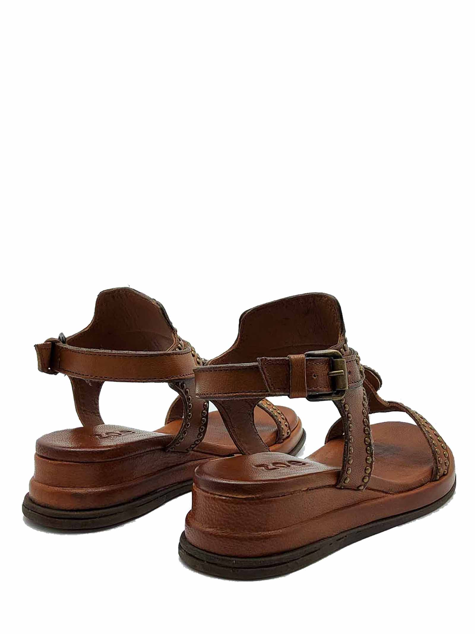 Women's Shoes Leather Sandals with Studs and Ankle Strap Ultra Light Wedge Zoe | Wedge Sandals | CHEYENNE02014
