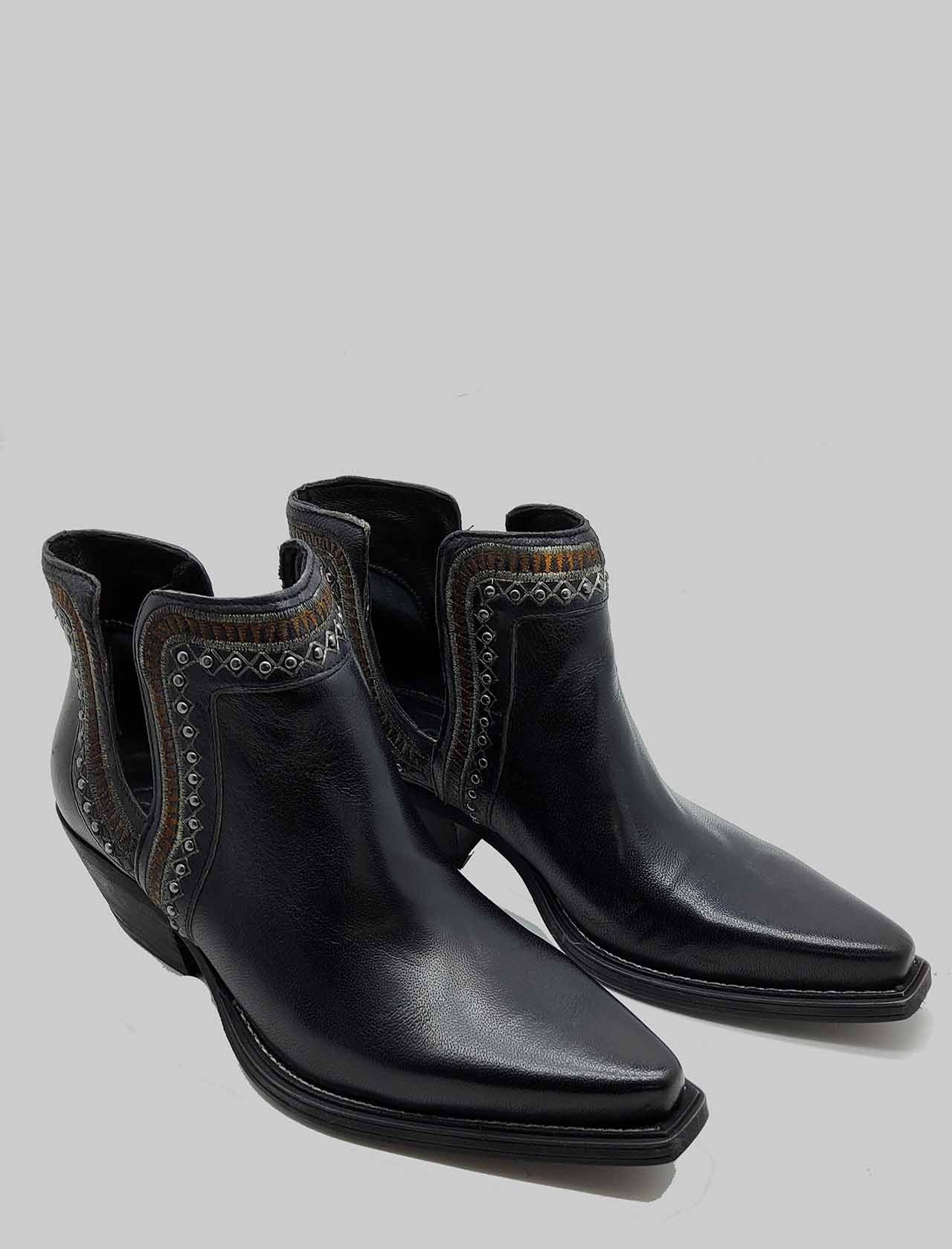 Women's Shoes Texan Ankle Boots In Black Leather With Embroidery Zoe | Ankle Boots | NEZ01001