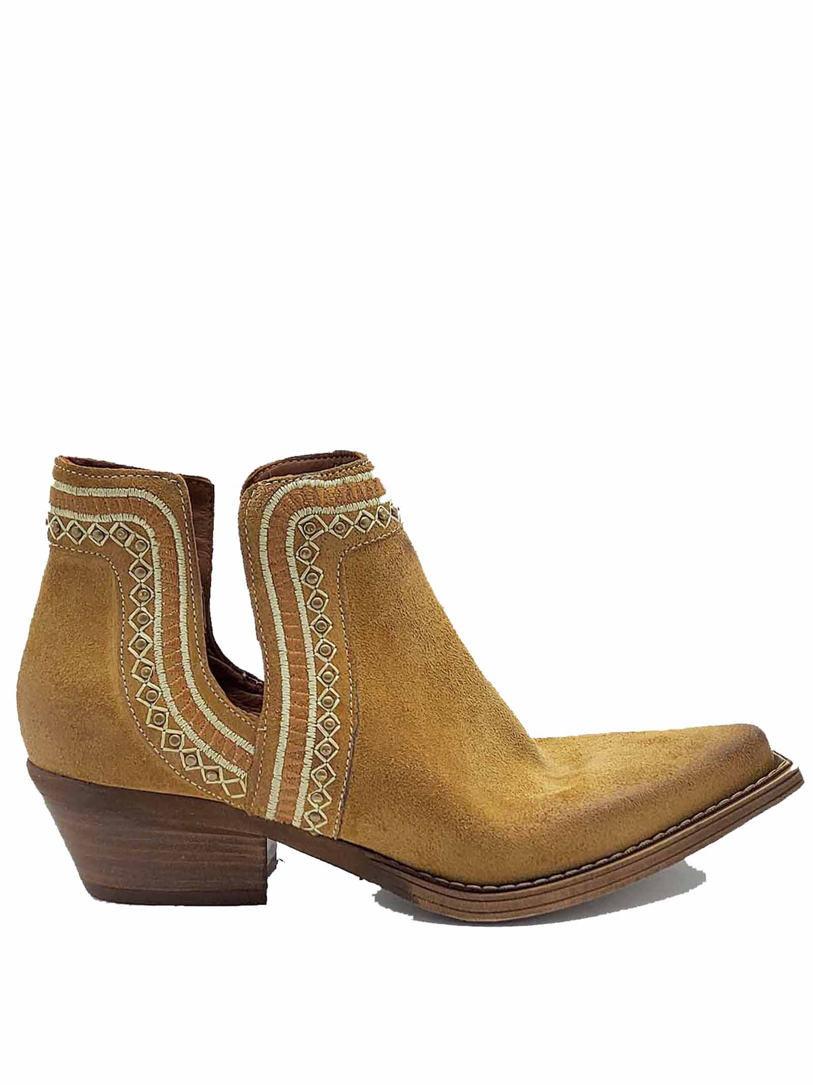 Women's Shoes Texan Ankle Boots In Camel Suede With Embroidery Zoe   Ankle Boots   NEZ01014