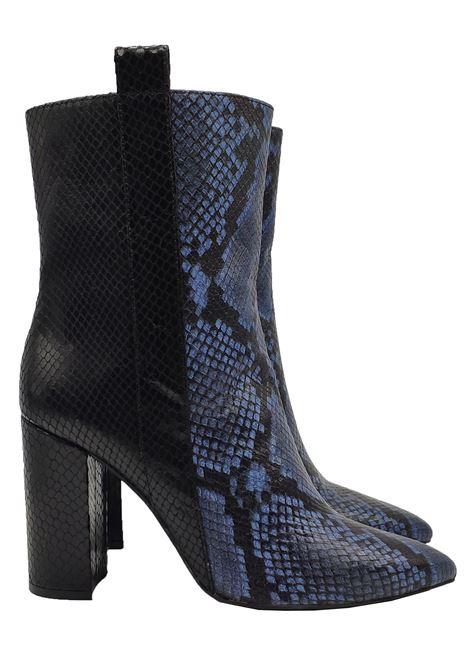 Calzature Donna Stivaletti In Pelle Pitonata Bicolore Nero e Blu Tacco Alto Bruno Premi | Stivaletti | BY3303XPITONE BLU
