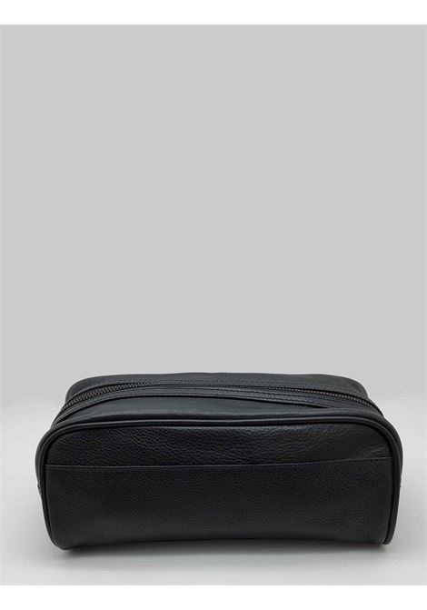 Men's Accessories Necessaire in Black Leather Double Zipper Minoronzoni |  | MRF193P171NERO