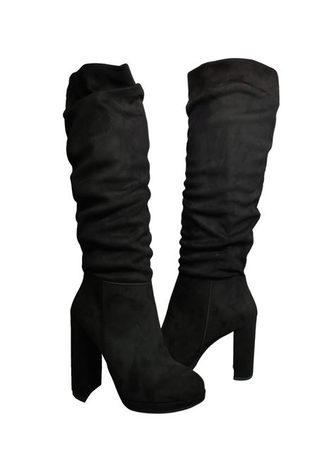 Women's High Curled Boots Exe | Boots | 937NERO