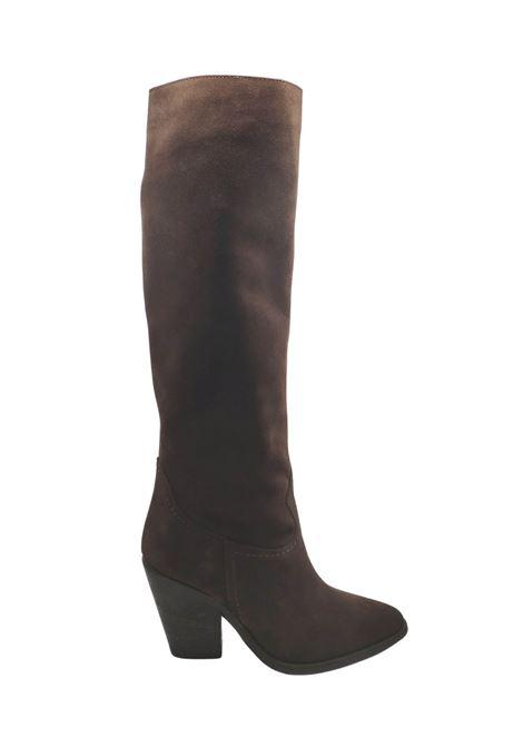 Calzature Donna Stivali Texani In Pelle Scamosciata Teta di Moro Con Tacco Alto Spatarella | Stivali | P210MORO